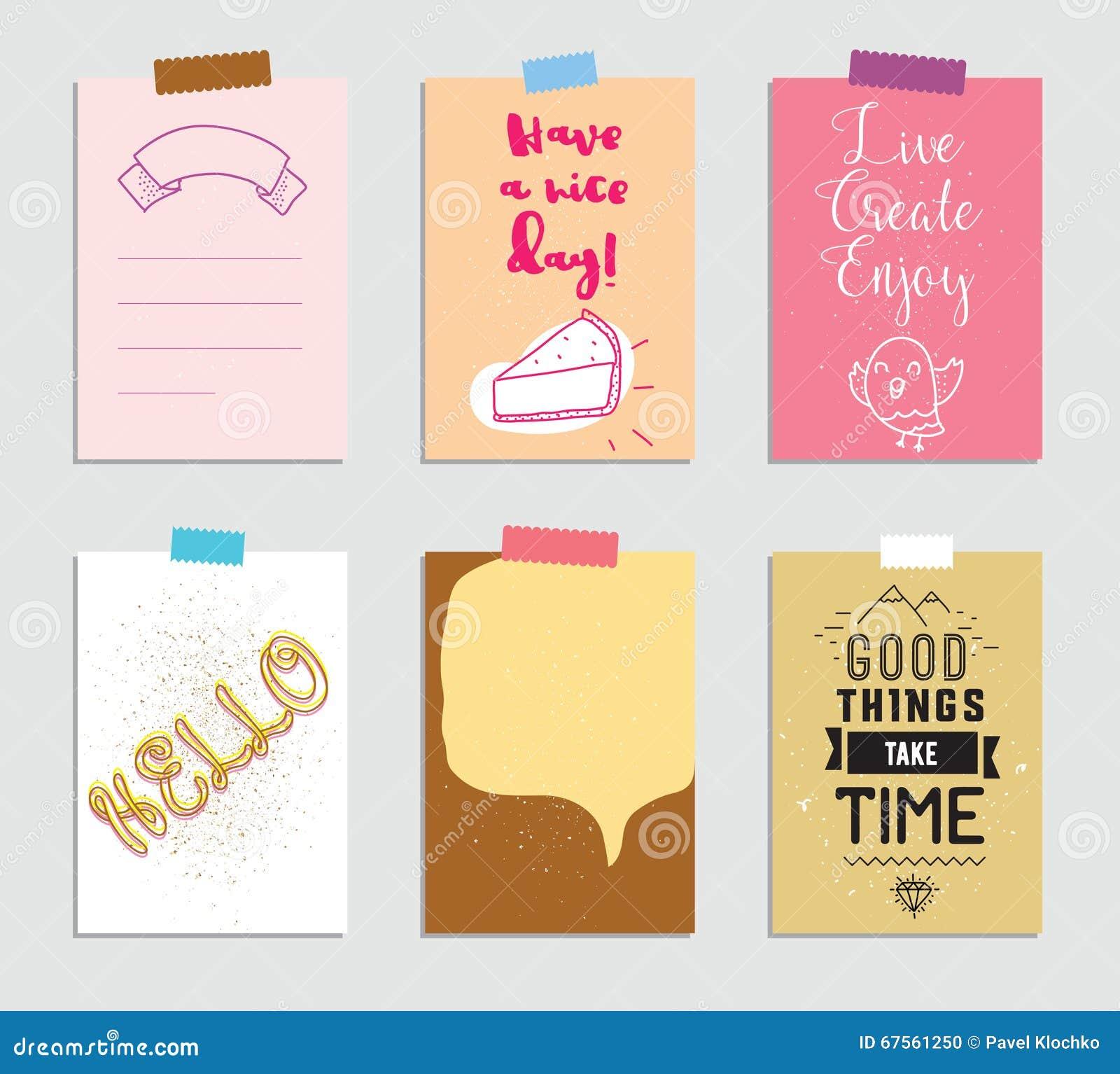 Sistema de 6 tarjetas que meten en diario creativas Ilustración del vector Plantilla para scrapbooking de saludo, planificador, e
