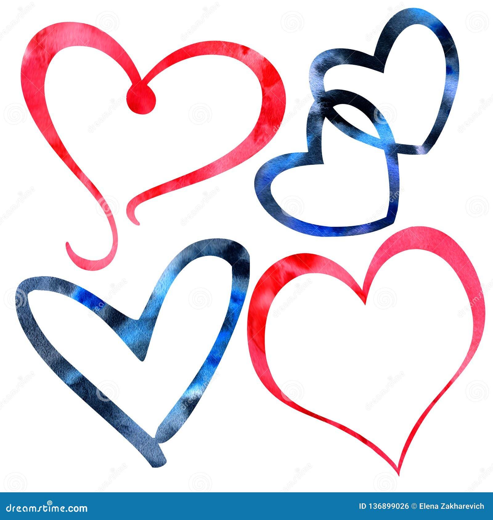 Sistema de textura de la tarjeta del día de San Valentín de la acuarela a mano de corazones rojos y negros
