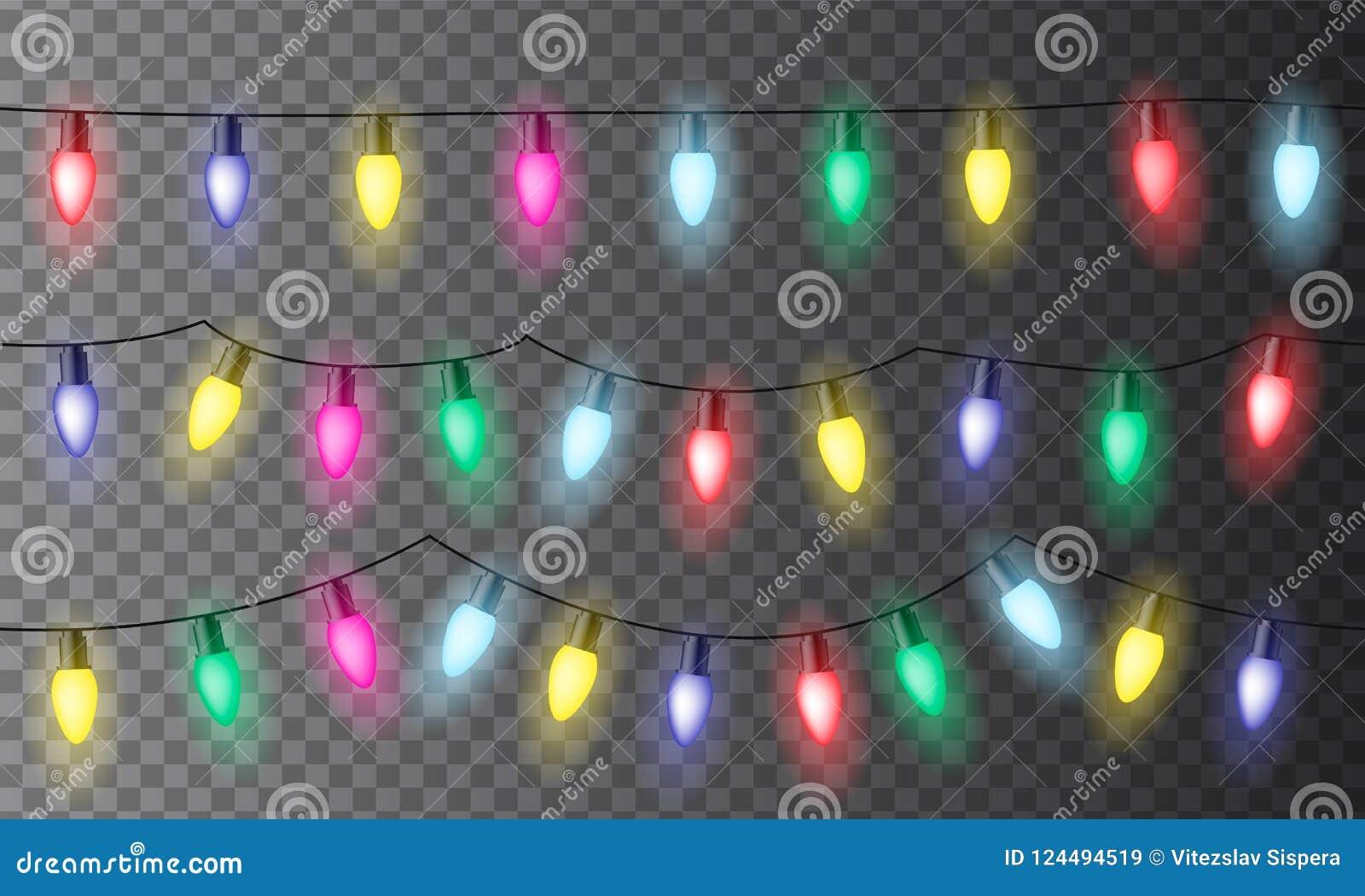 Sistema de tres cadenas de luces o de celebración coloridas de la Navidad