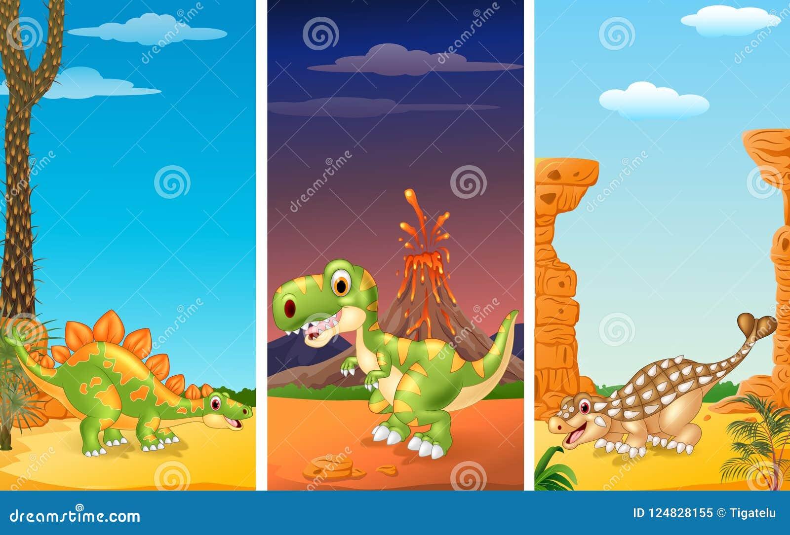 Sistema de tres dinosaurios
