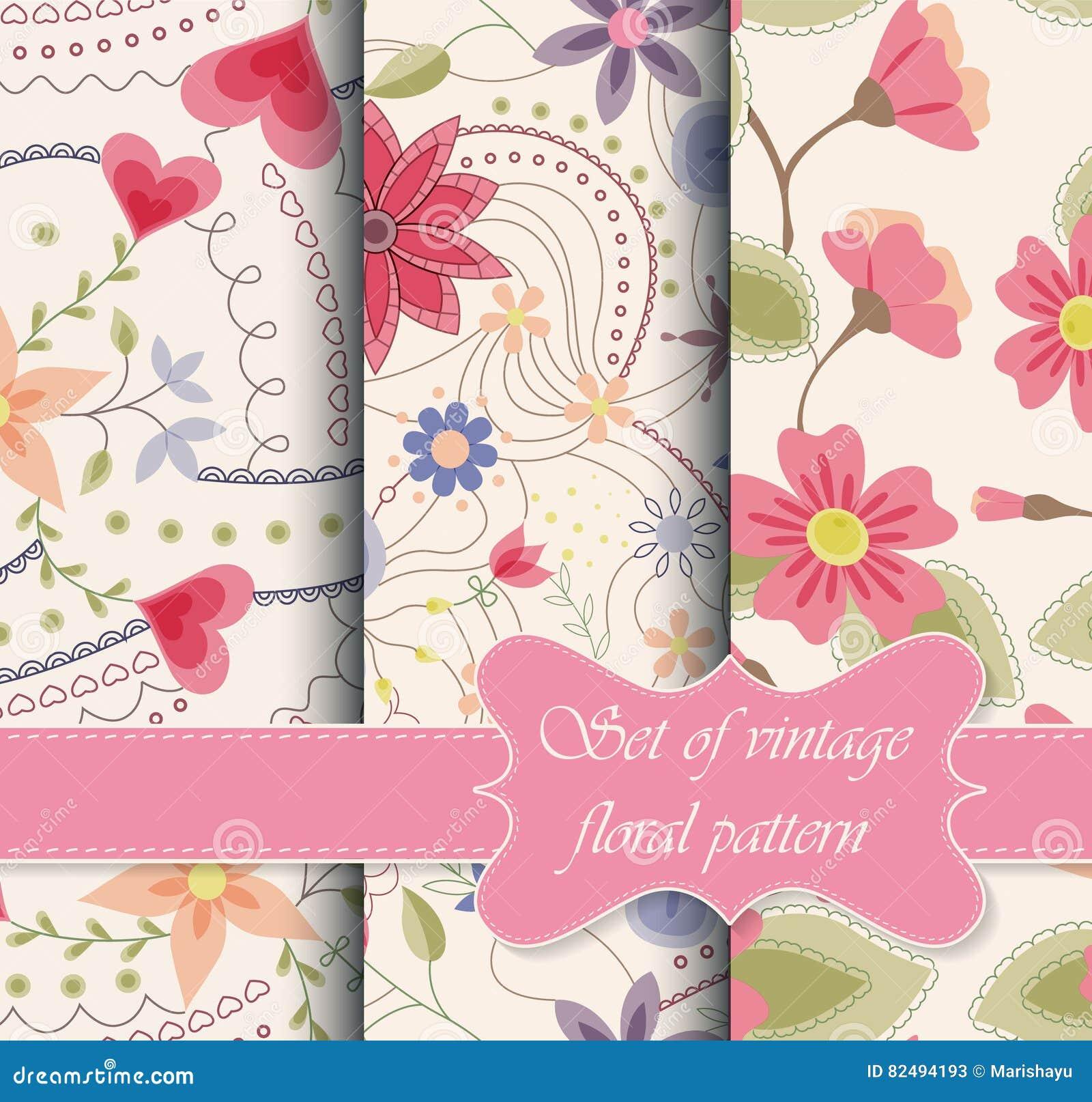 Sistema de vintage inconsútil de los modelos floral