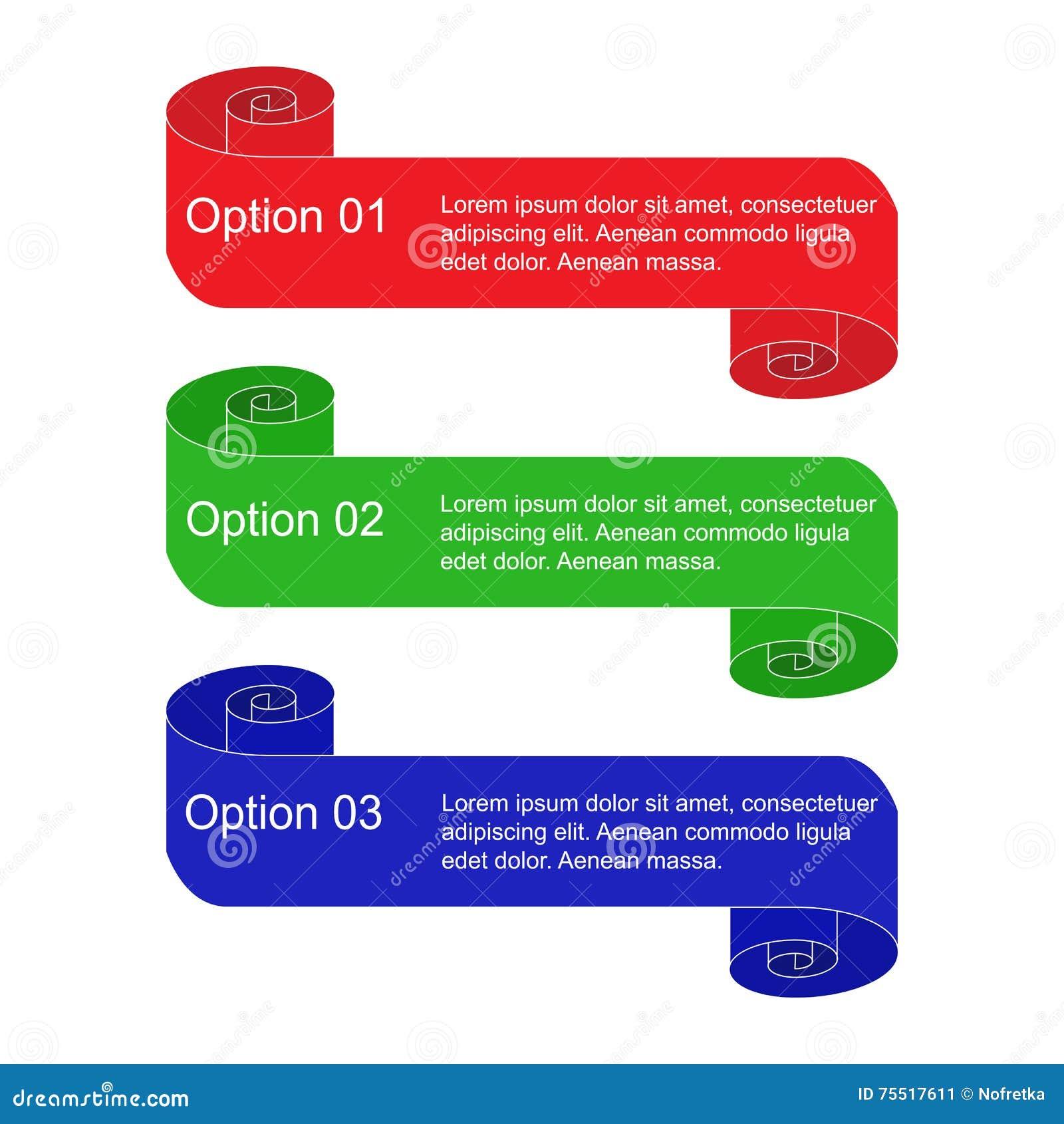 Sistema de volutas coloridas del Información-gráfico aisladas en blanco Banderas espirales de las opciones Plantillas para las ba