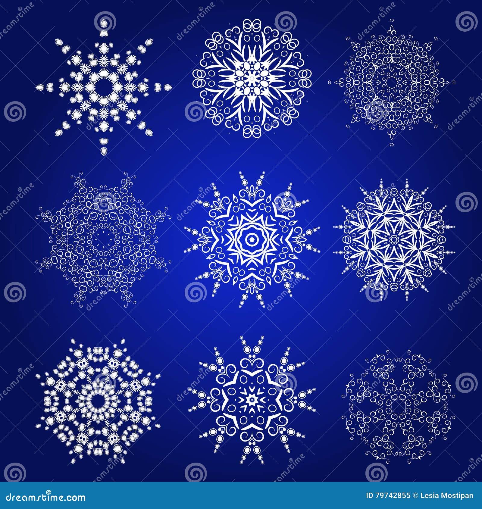 Sistema decorativo del vector de los copos de nieve