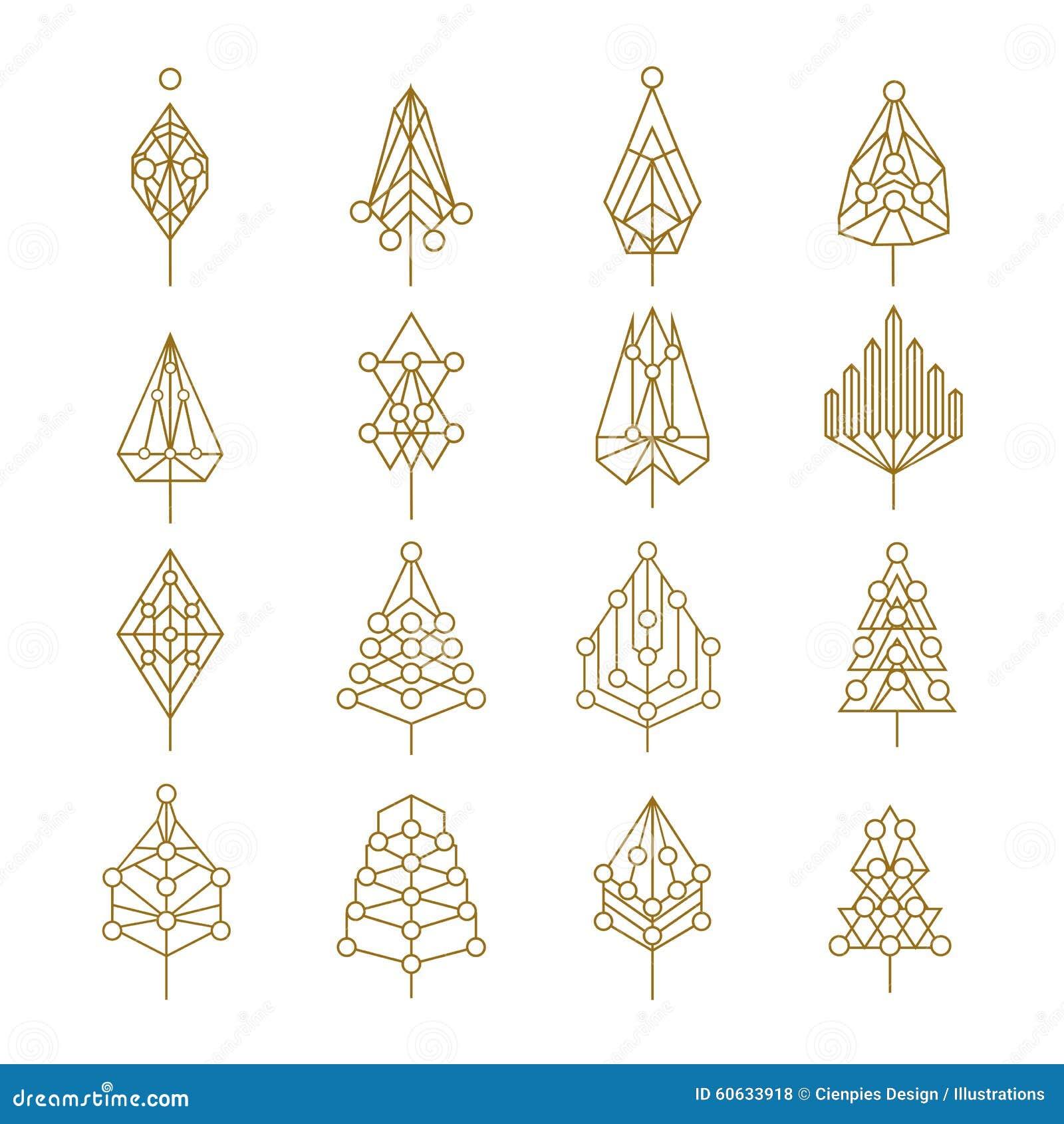 Sistema Del árbol De Pino Del Esquema Del Extracto De La Geometría ...