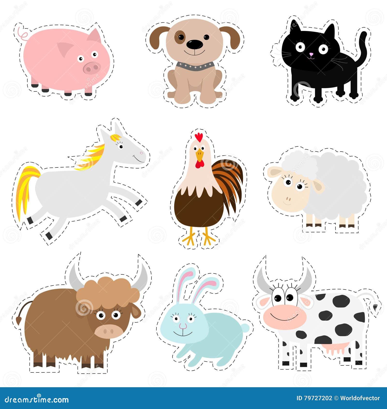 Sistema del animal del campo Cerdo, perro, gato, vaca, conejo, caballo de la nave, gallo, colección del bebé del toro Estilo plan