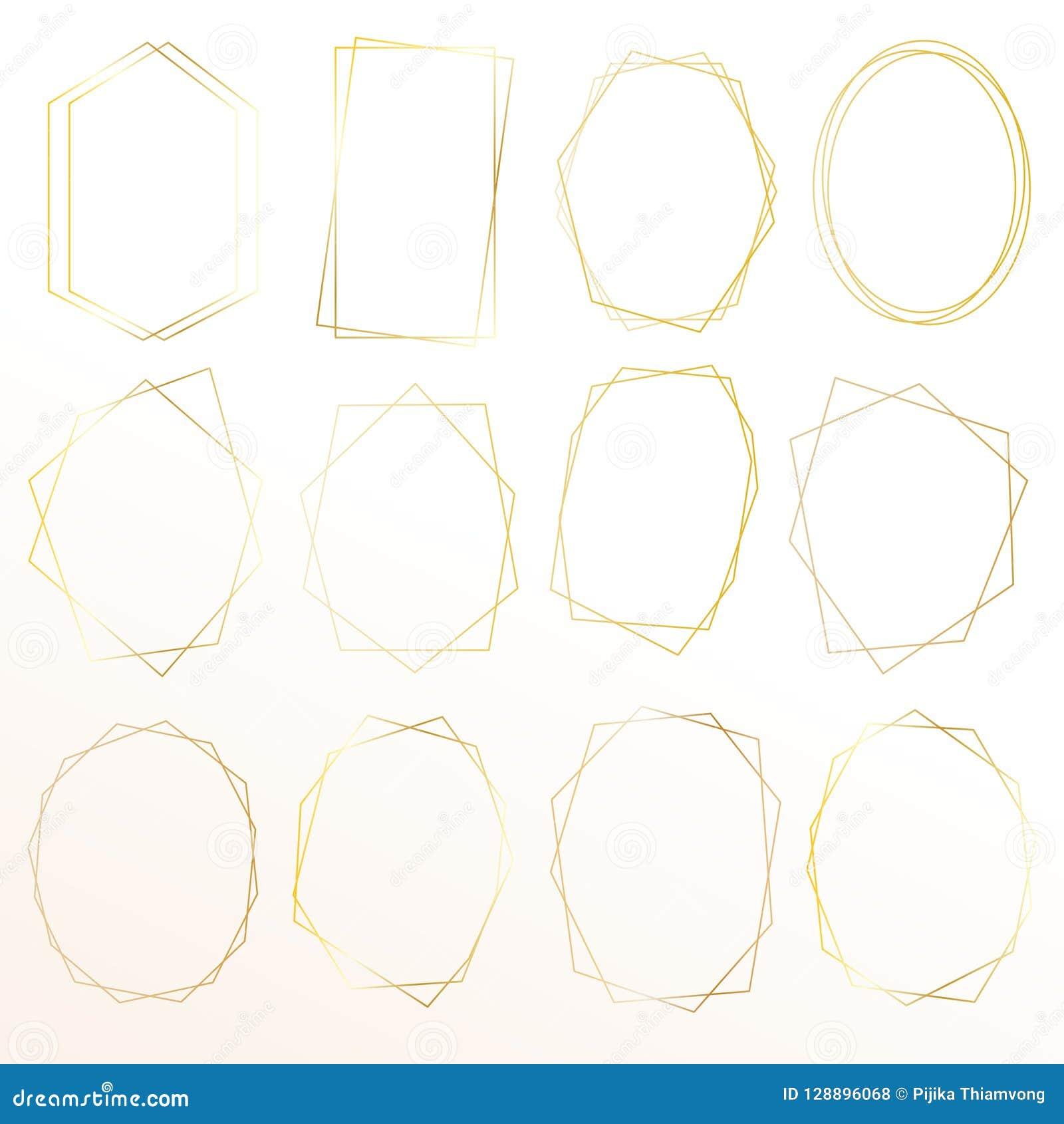 Sistema del bastidor geométrico del oro, elemento decorativo para la invitación de boda, invitaciones y logotipo