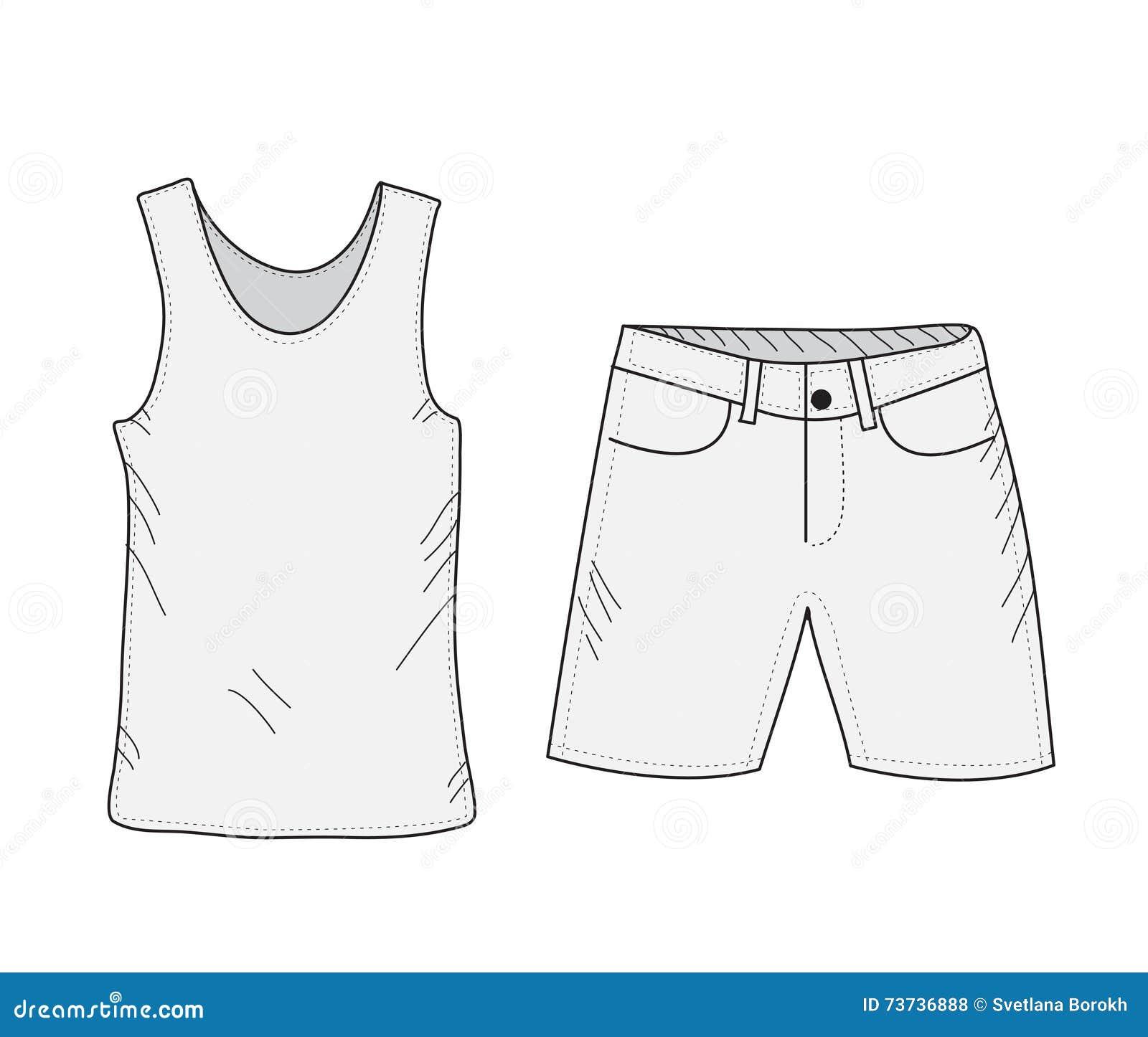 1b8641de1 Sistema del bosquejo de la camiseta y de los pantalones cortos Cosas en el  estilo del dibujo de la mano El verano viste estilo sport Maqueta del top  sin ...