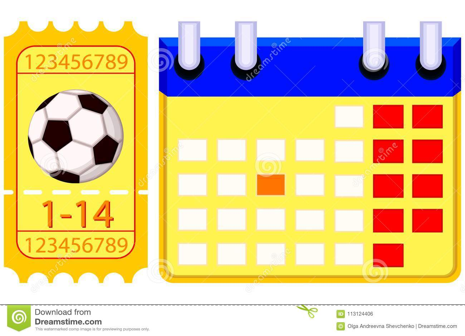 Futbol Calendario.Sistema Del Calendario Del Boleto Del Futbol Del Futbol De Colorfull