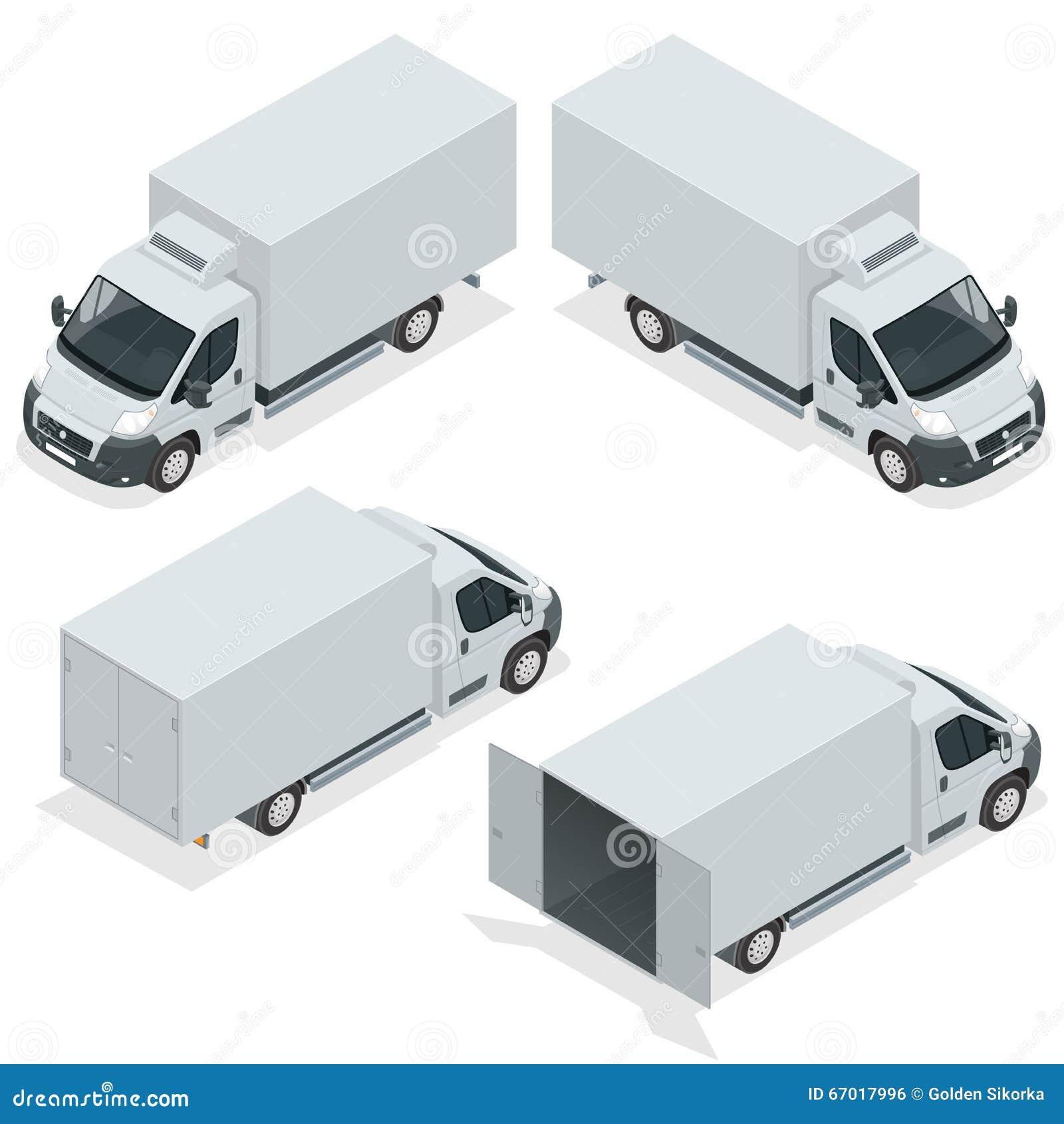 Sistema del camión de los iconos para el cargo del transporte Van para el carro del cargo Coche de entrega Ejemplo isométrico del