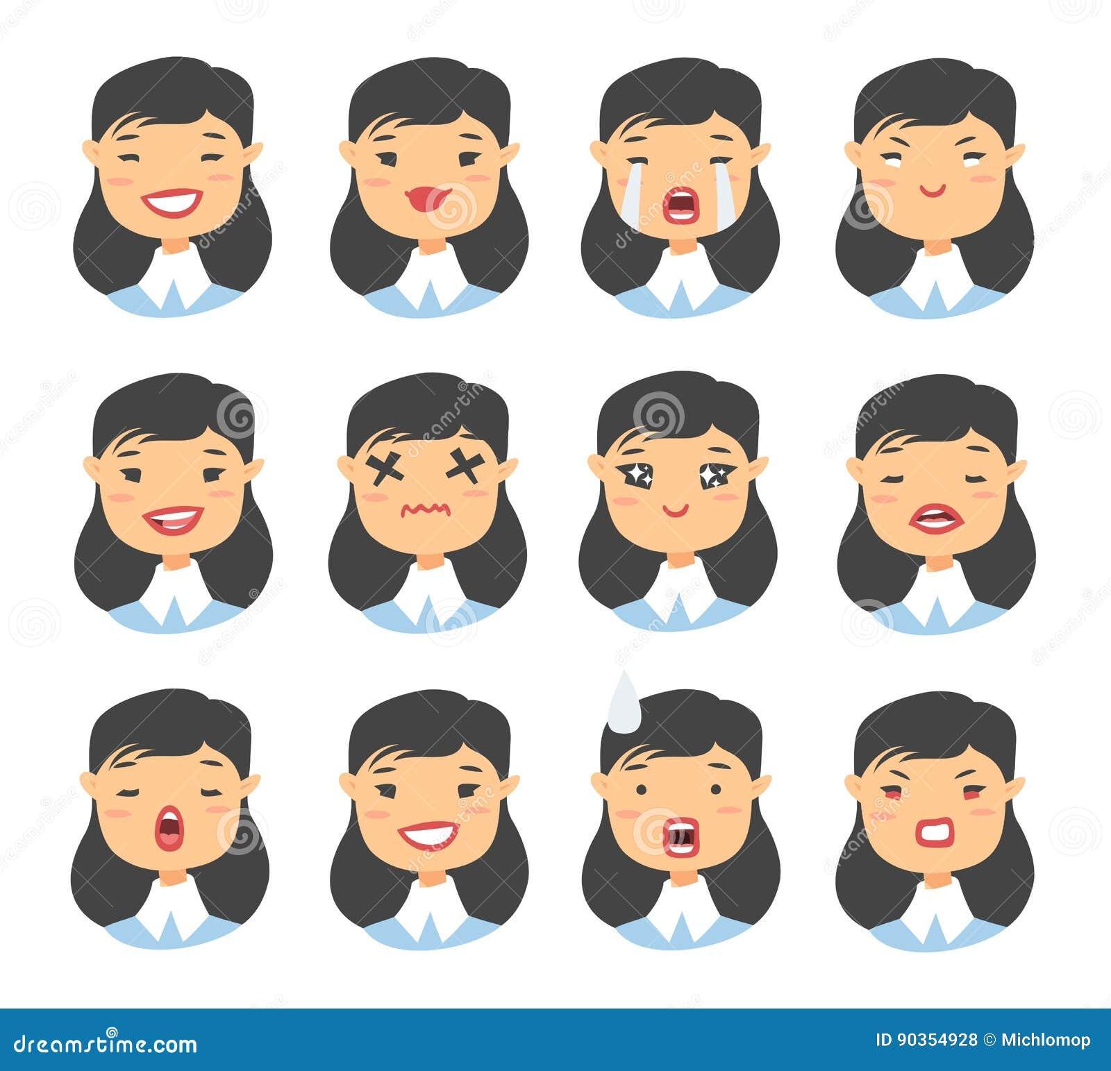 Sistema del carácter asiático del emoji Iconos de la emoción del estilo de la historieta Avatares aislados de la muchacha con div