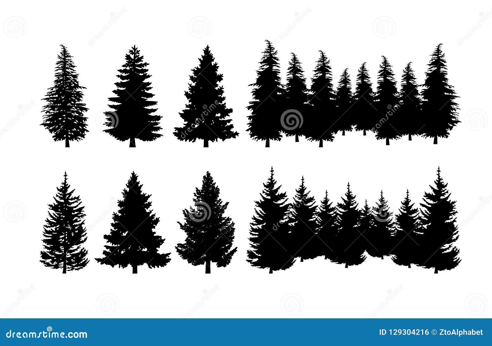 Sistema del clip art de la silueta del árbol de pino