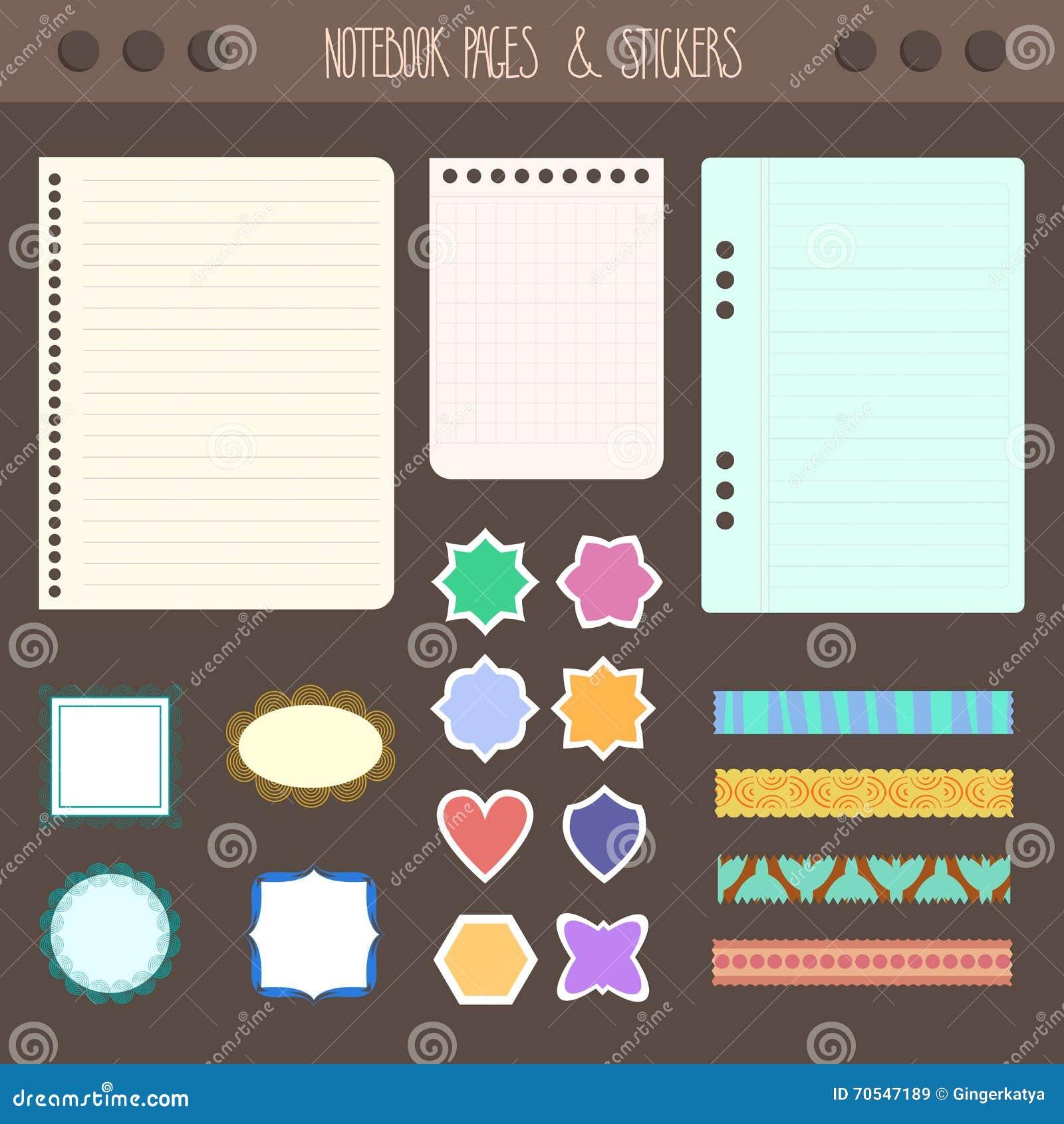 Sistema Del Cuaderno Con Las Etiquetas Engomadas, Cinta Coloreada ...
