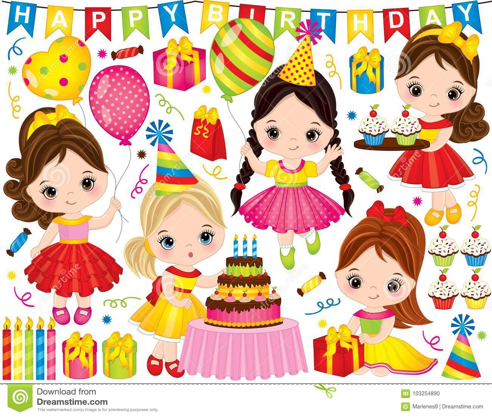 Sistema del cumpleaños del vector con las niñas y los elementos lindos del partido