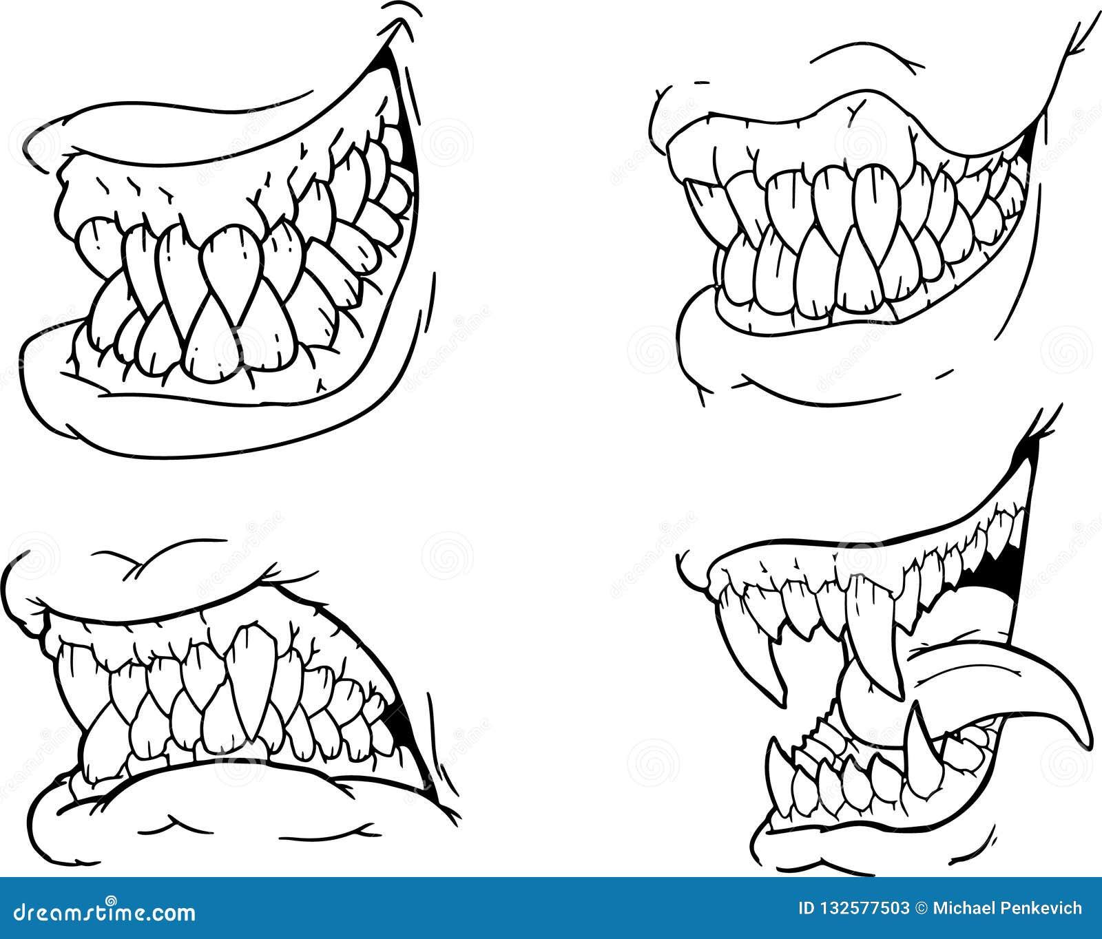 Sistema del dibujo de la mano de los mandíbulas asustadizos blancos y negros de Halloween, colmillos, dientes, hocicos terribles,