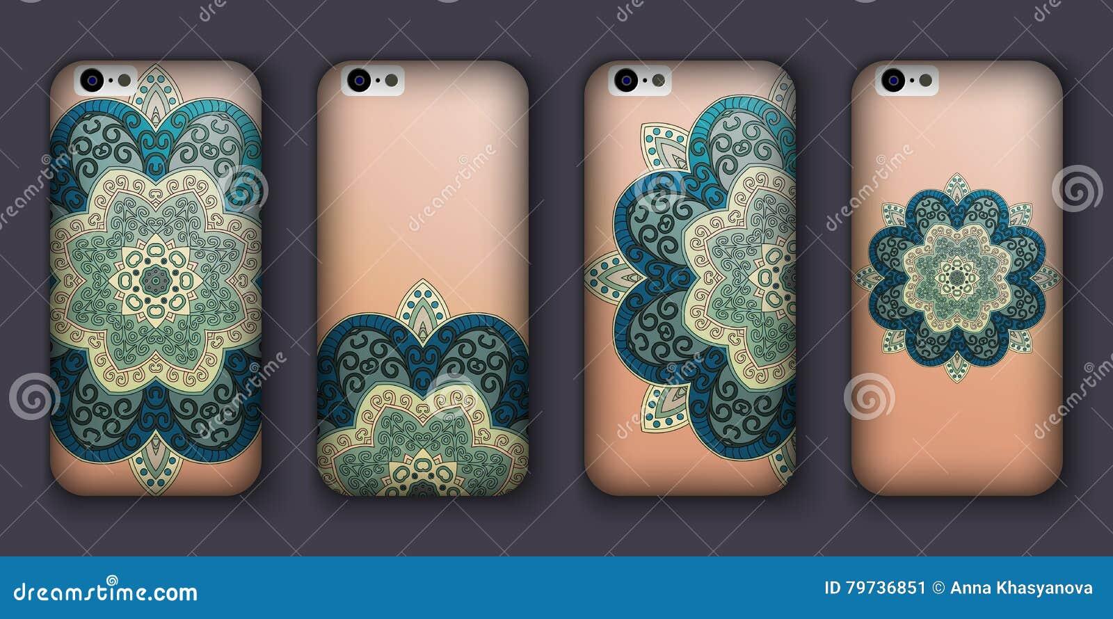 Sistema del diseño de la caja del teléfono Elementos decorativos de la vendimia Fondo dibujado mano Islam, árabe, indio, adornos
