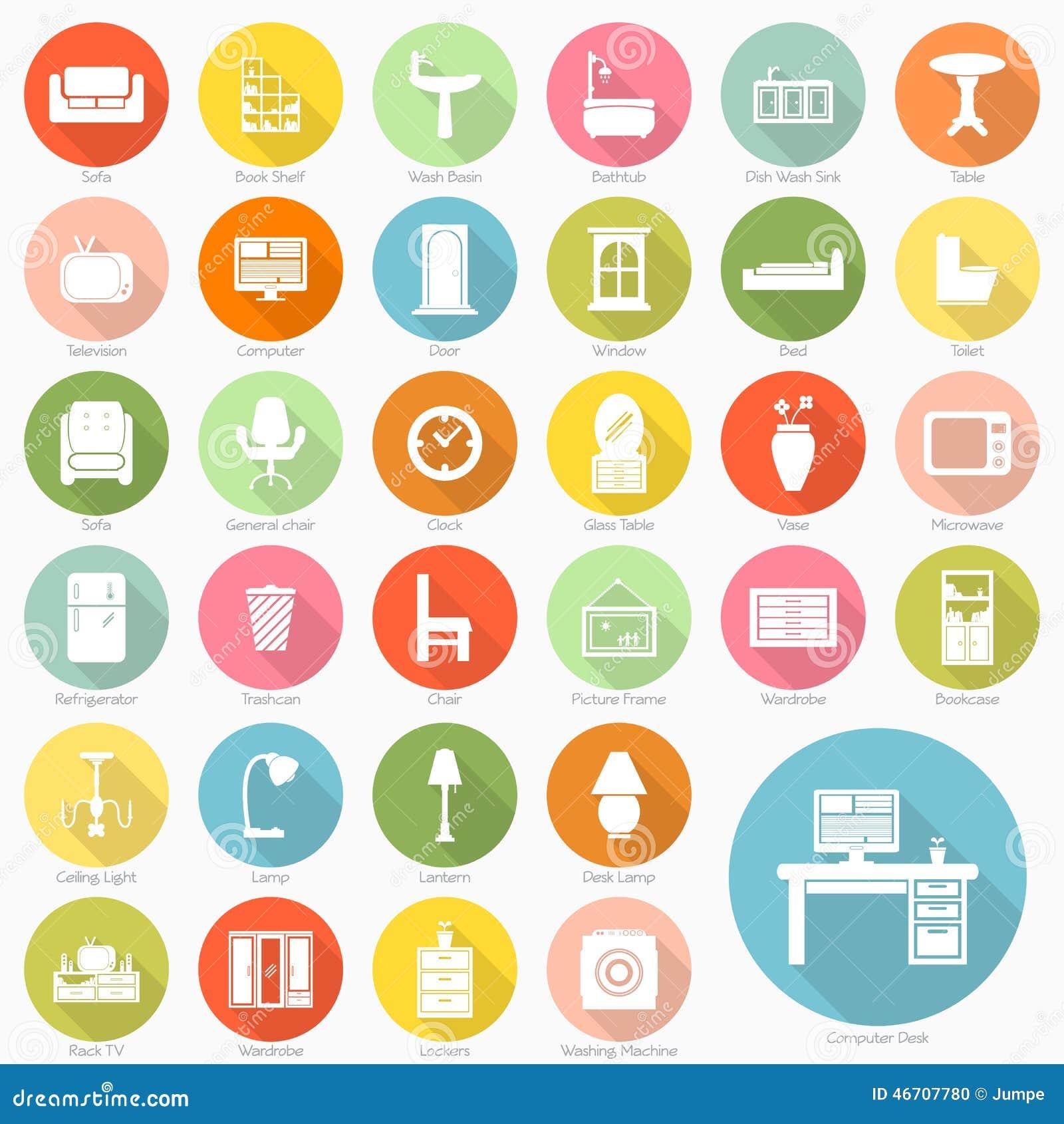 Sistema Del Dise O Plano De Los Iconos De Los Muebles Ilustraci N  # Los Muebles Powerpoint