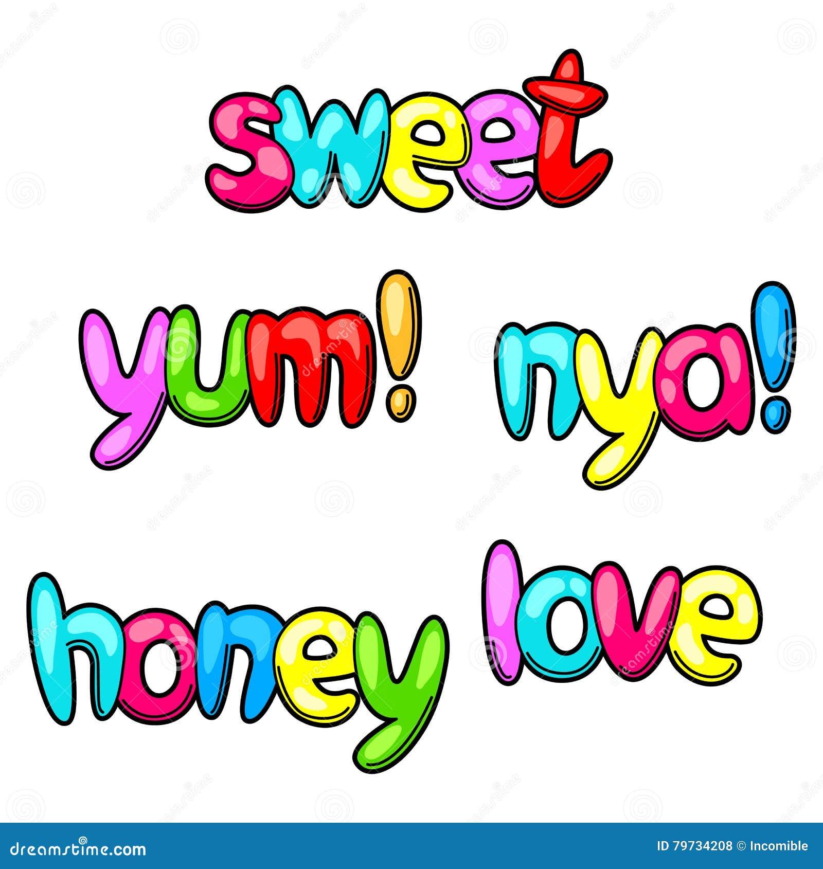Sistema del dulce y yum palabras en estilo de la historieta