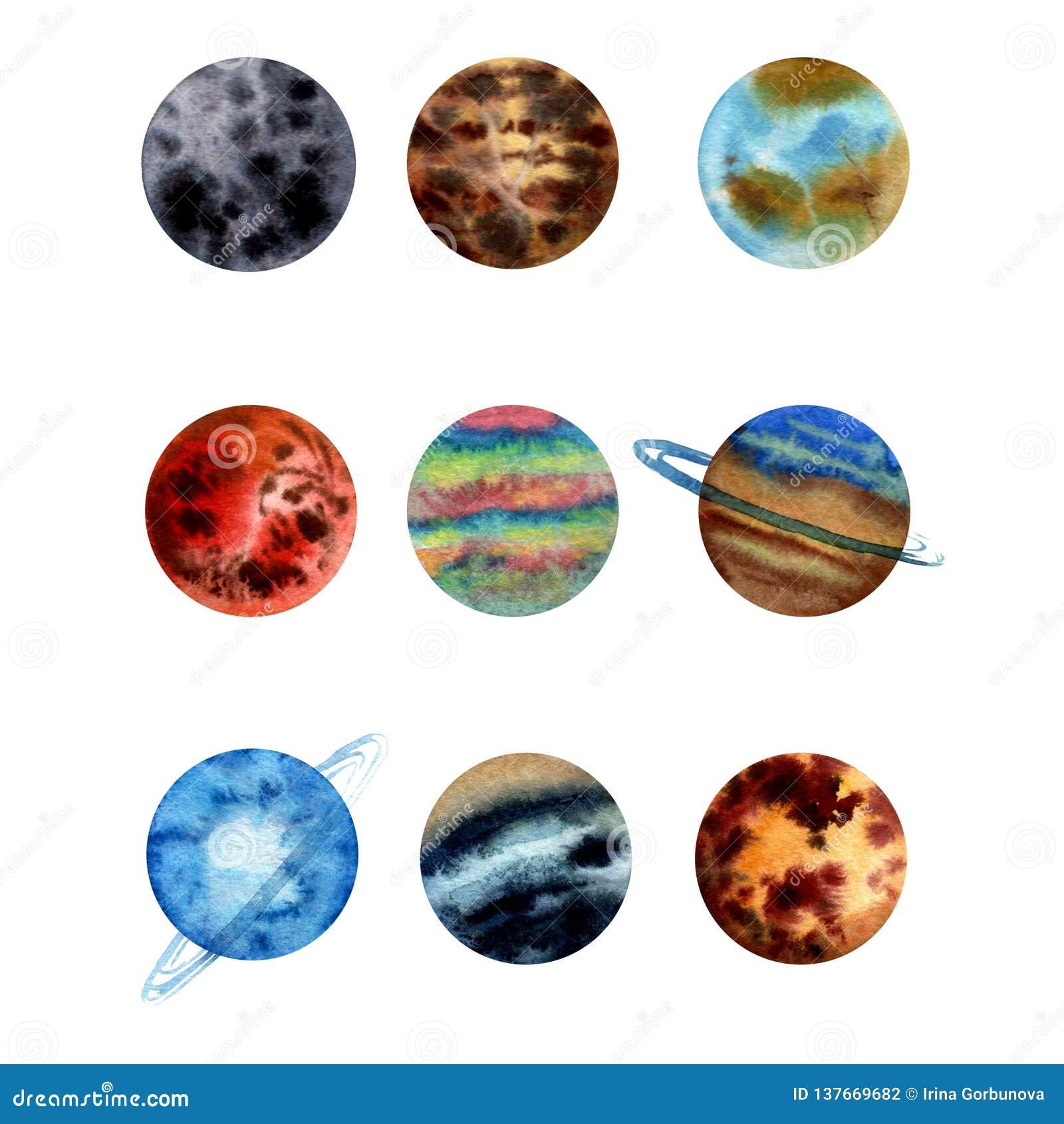 Sistema del ejemplo de la acuarela de planetas de la Sistema Solar Mercury, Venus Earth, Marte, Jupter, Saturn, Urano Neptuno, Pl