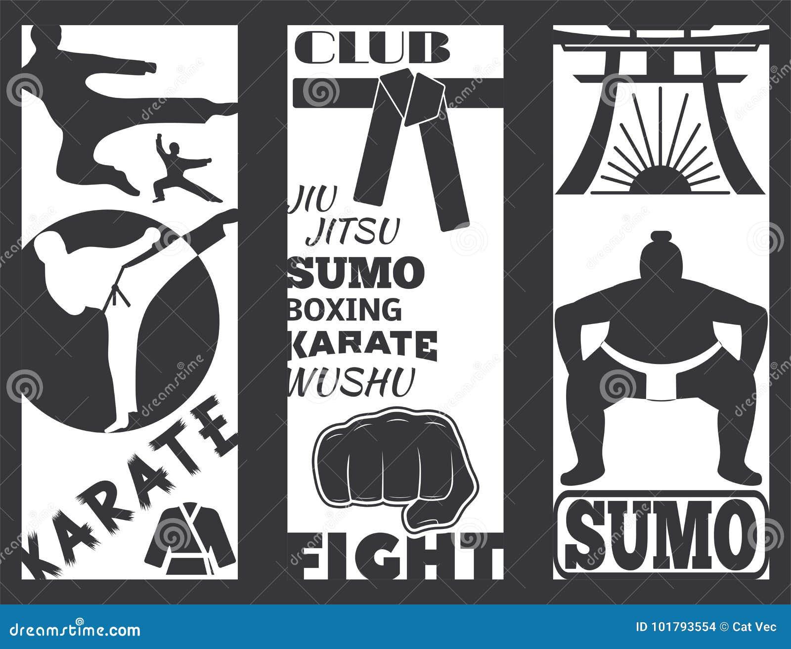 Sistema del ejemplo fresco del vector del karate del puño del deporte del sacador de tarjetas de la lucha del folleto del club qu