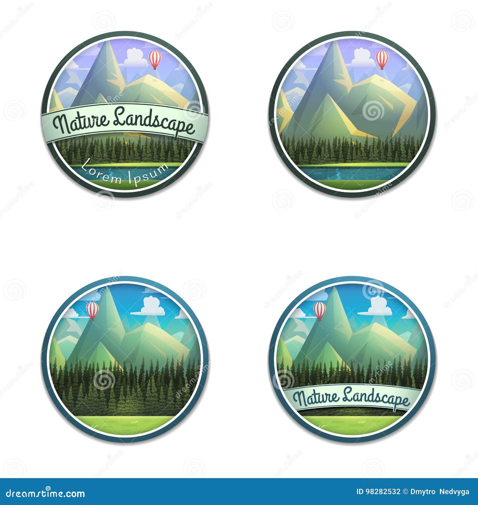 Sistema del emblema de la naturaleza del paisaje de la montaña con el río y el bosque conífero aislados en el fondo blanco