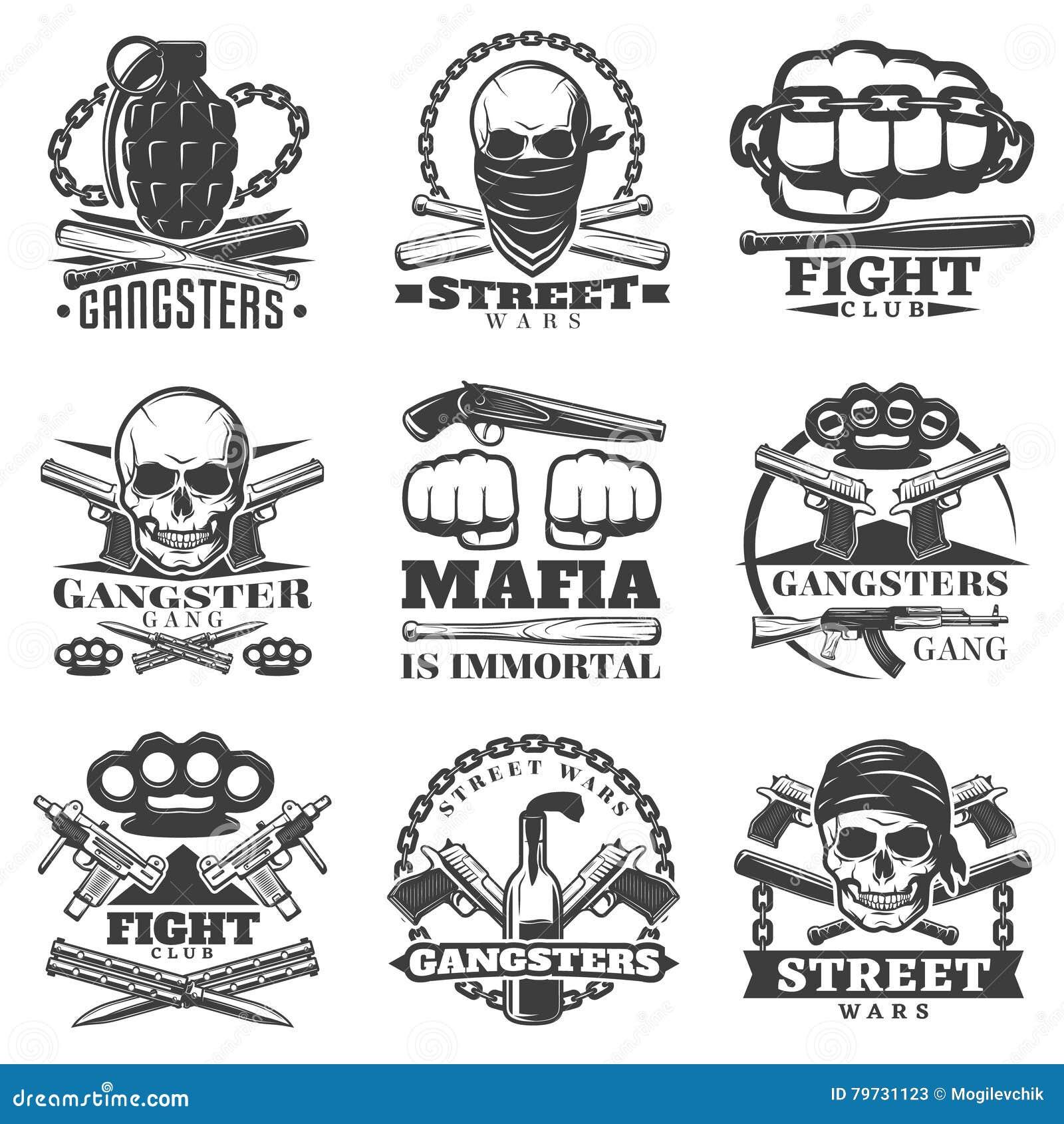 Sistema del emblema del gángster de las guerras de la calle