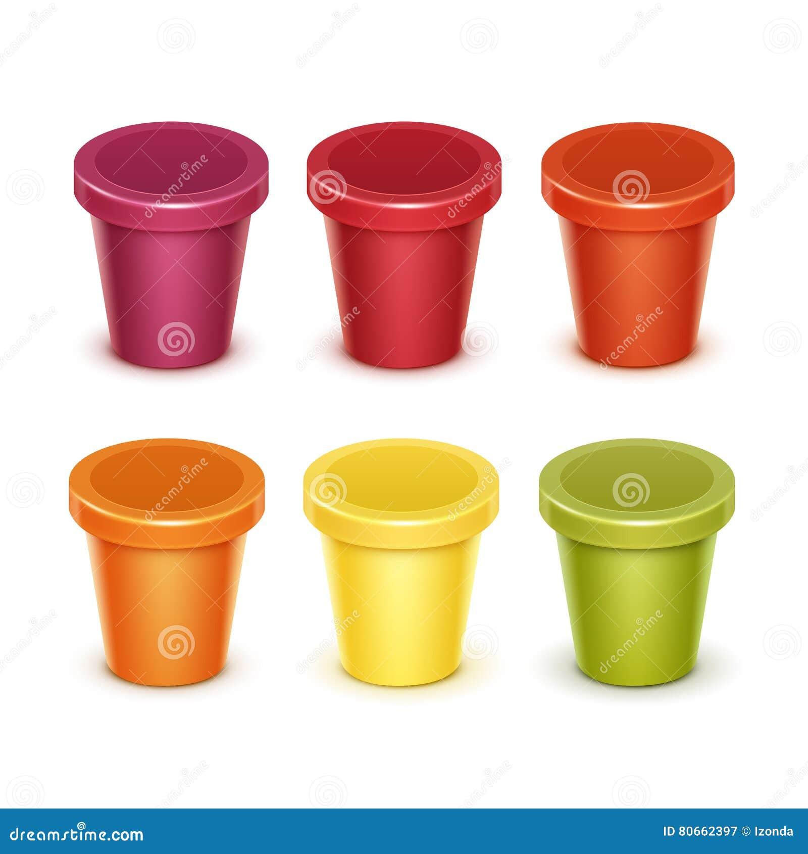 Sistema Del Envase De Plástico En Blanco Coloreado De La