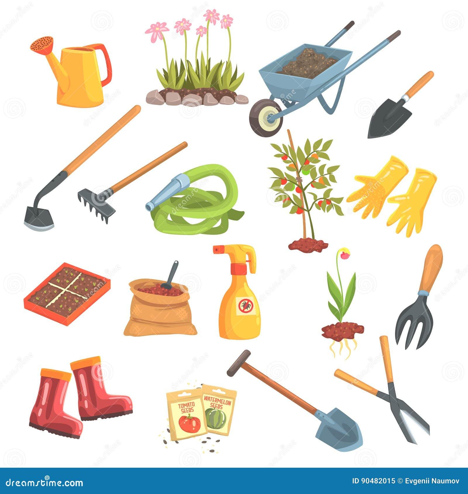 Sistema del equipo de los jardineros de objetos necesarios for Objetos de jardineria