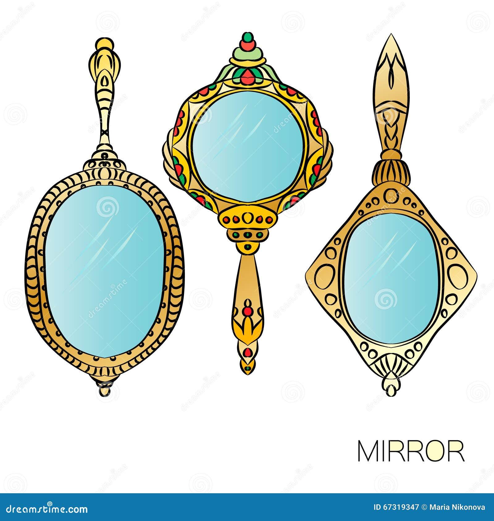 Sistema del espejo de mano del vintage del oro tres