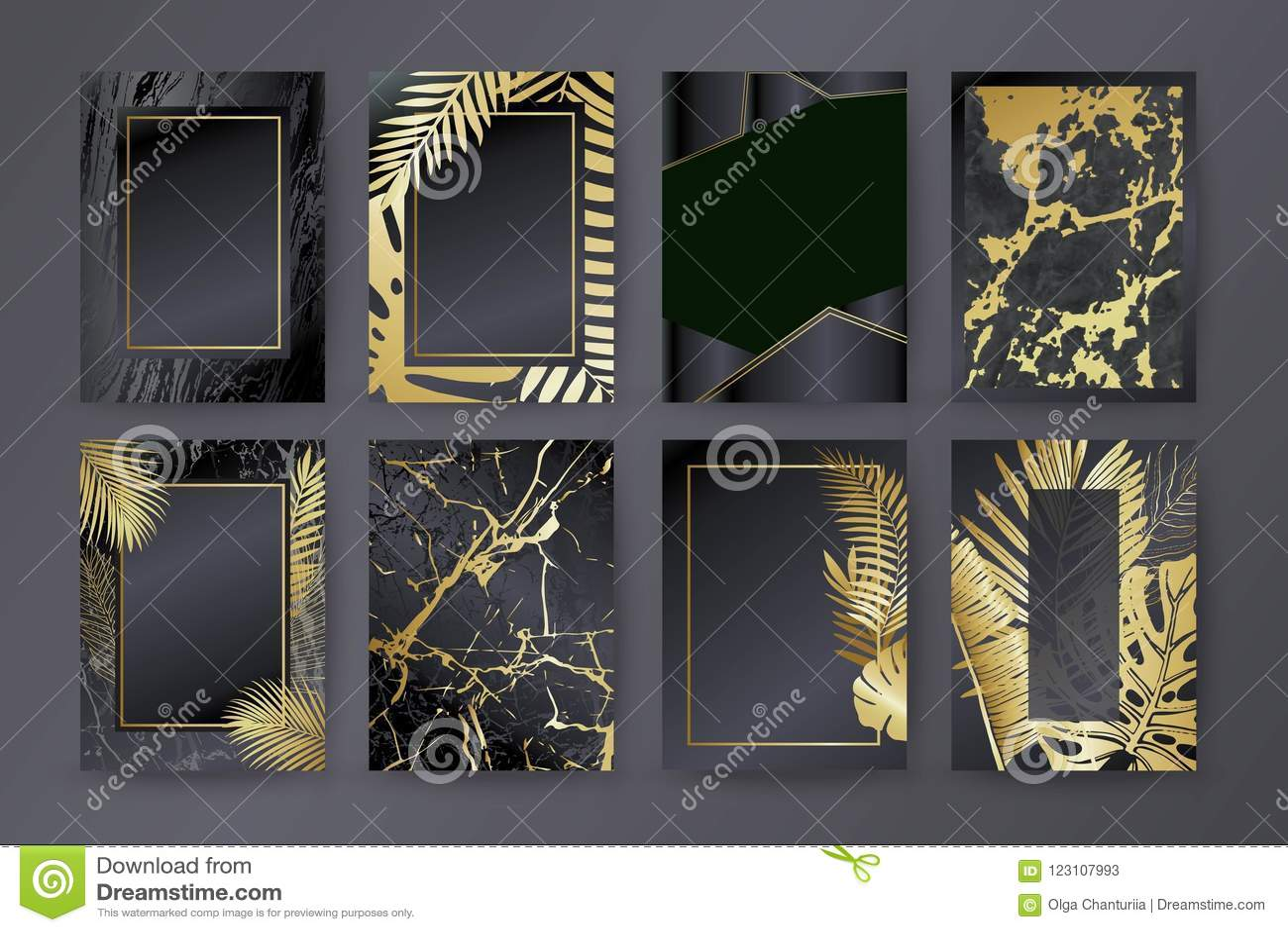 Sistema del folleto elegante, tarjeta, fondo, cubierta Textura de mármol negra y de oro Palma, hojas exóticas