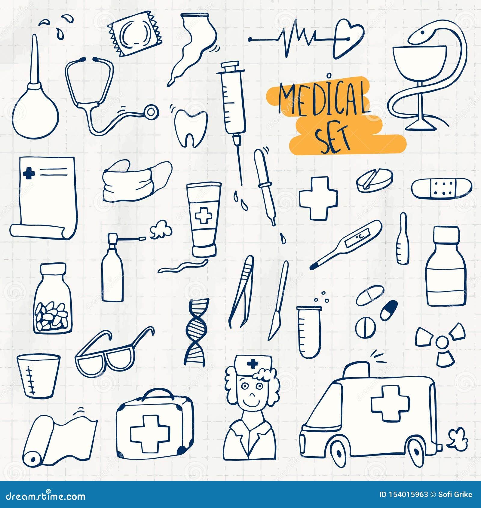 Sistema del garabato de la atención sanitaria y de la medicina