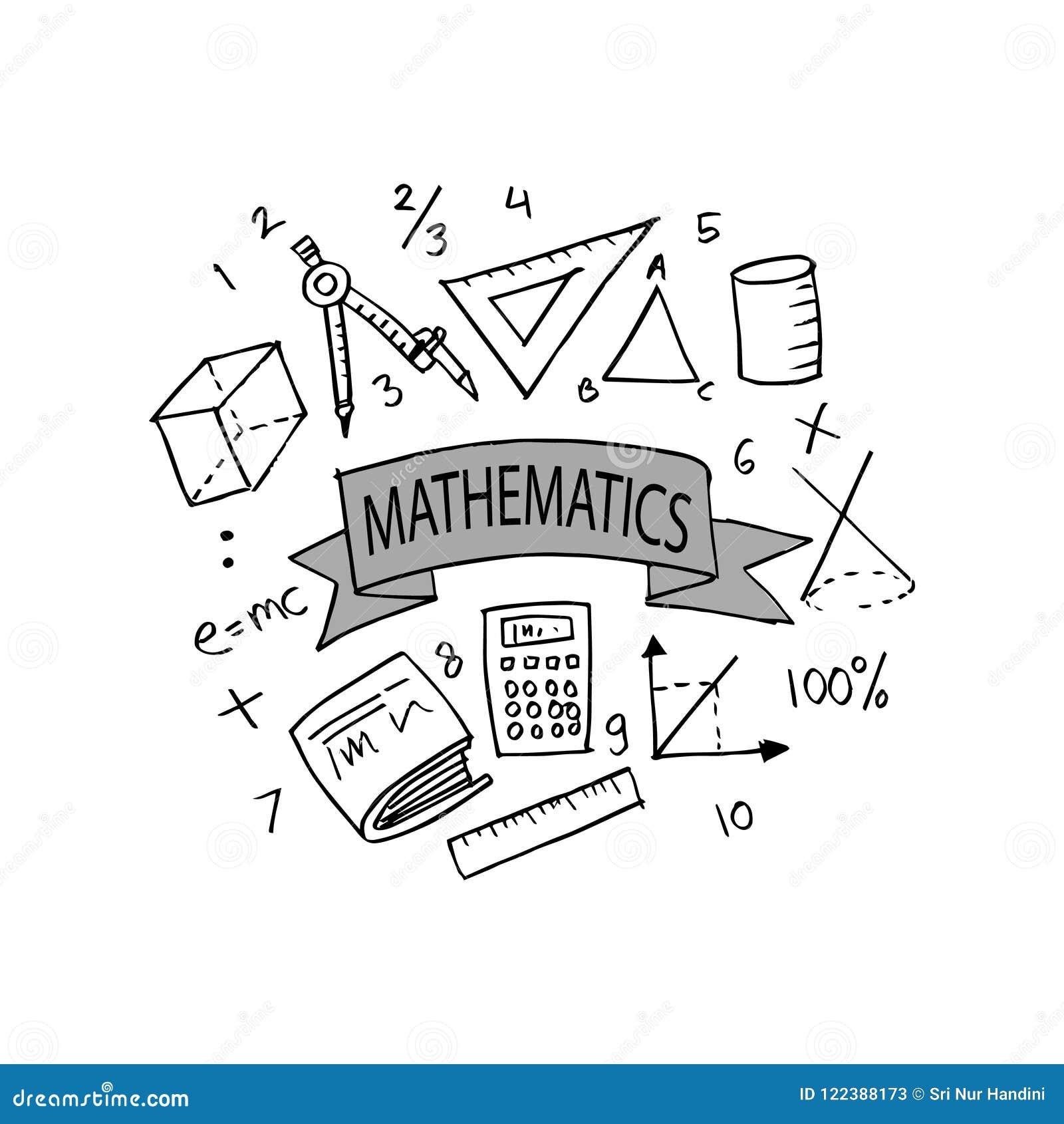 Sistema Del Garabato De Las Matemáticas Del Dibujo De La Mano Stock