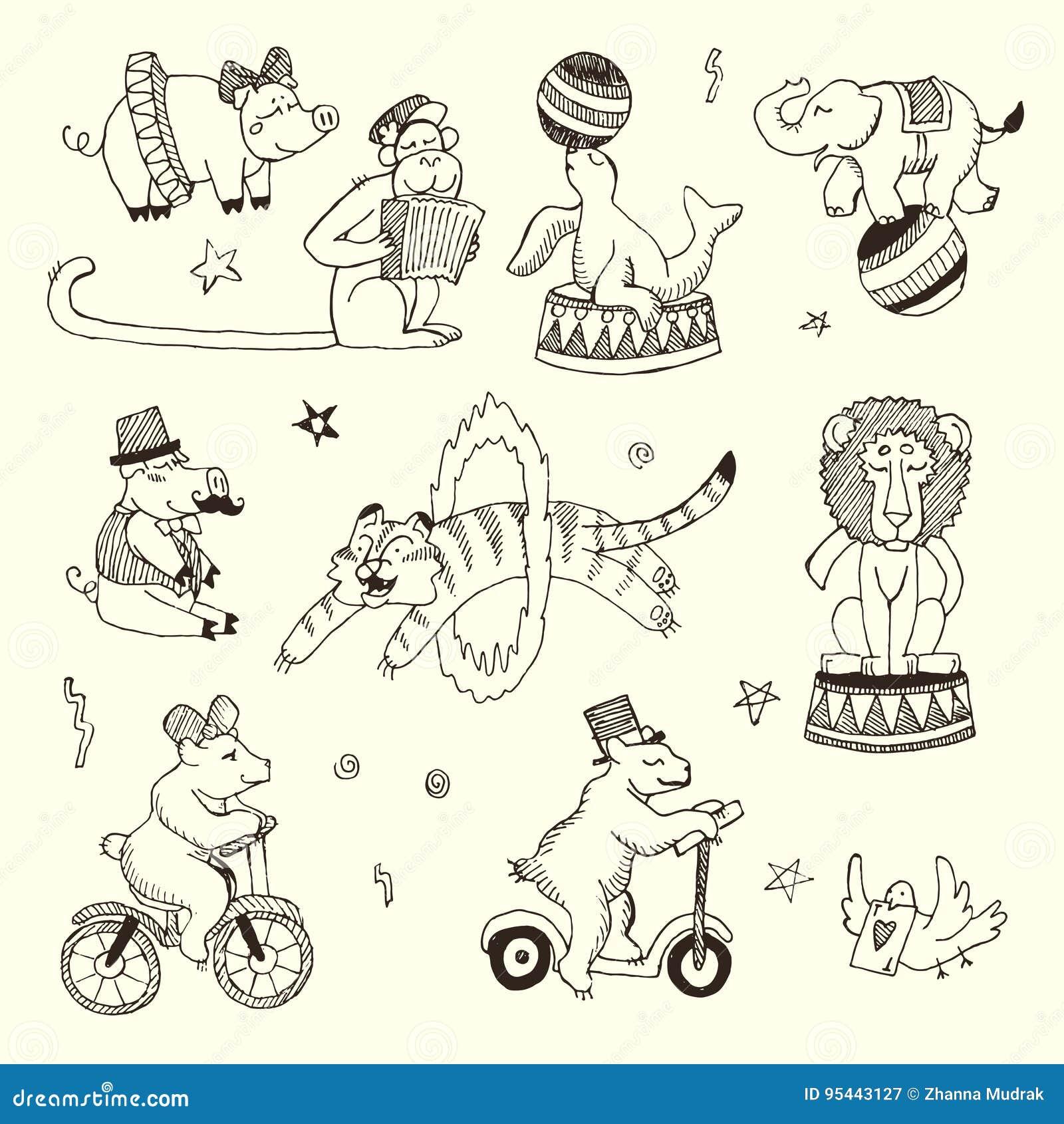 Sistema Del Garabato De Los Animales De Circo, Elementos Aislados En ...