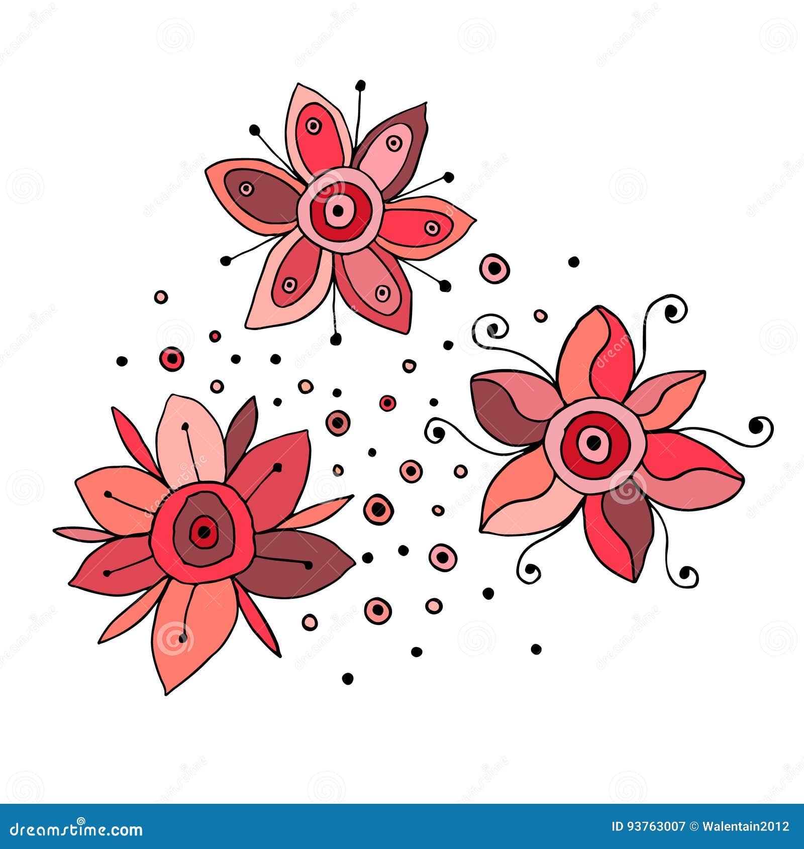 Sistema Del Garabato Infantil Lindo Dibujado Mano De Las Flores