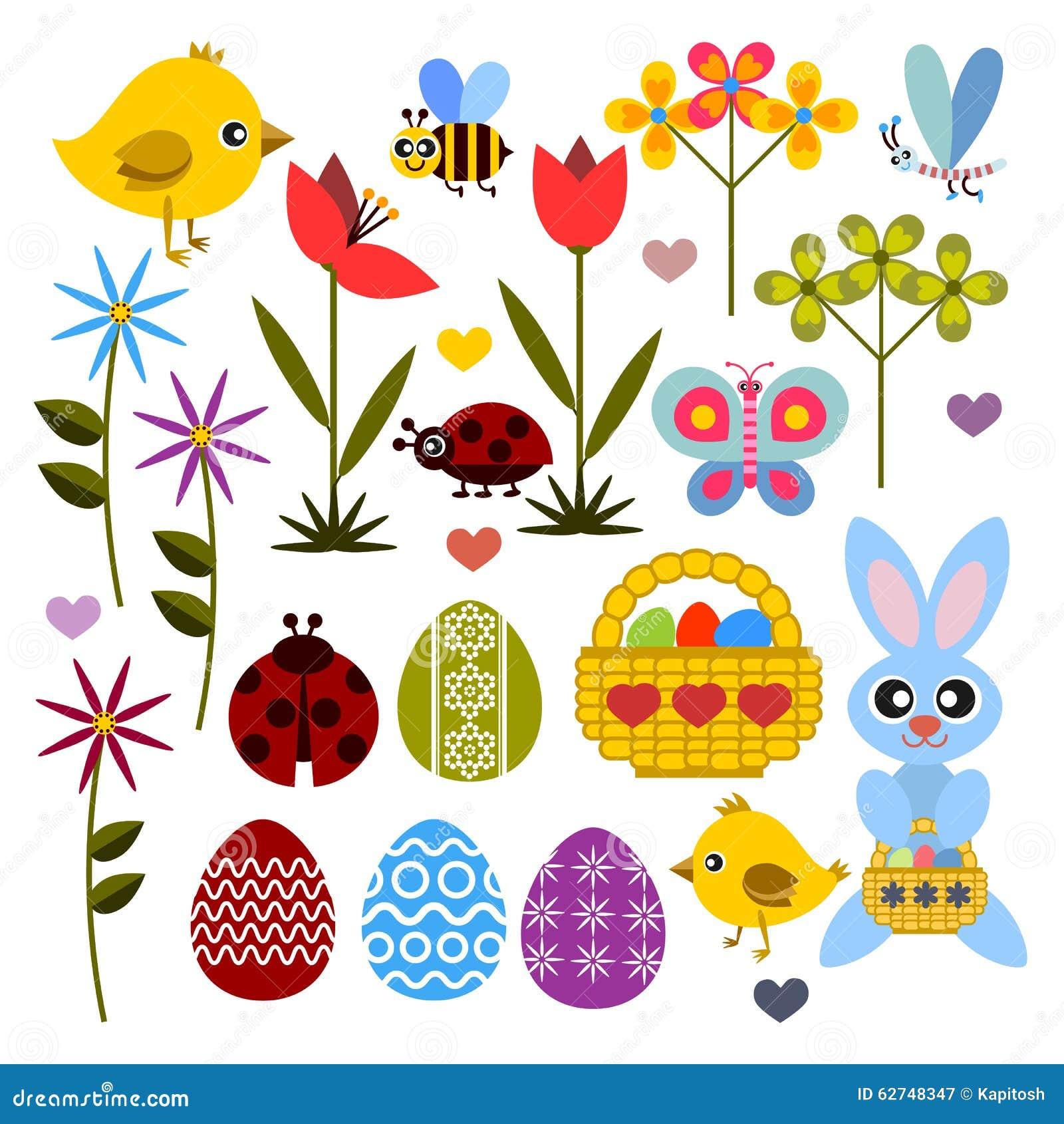 Sistema del icono coloreado plano para Pascua