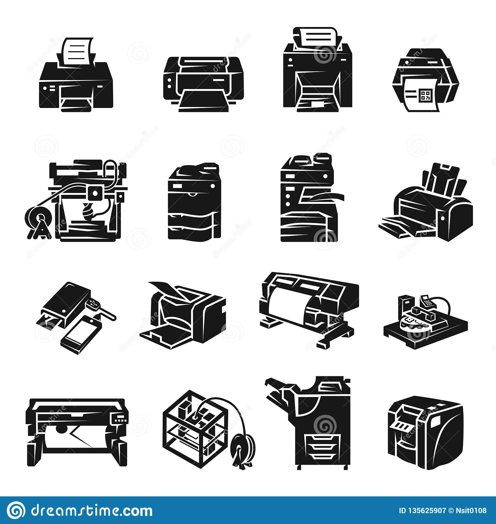 Sistema del icono de impresora, estilo simple