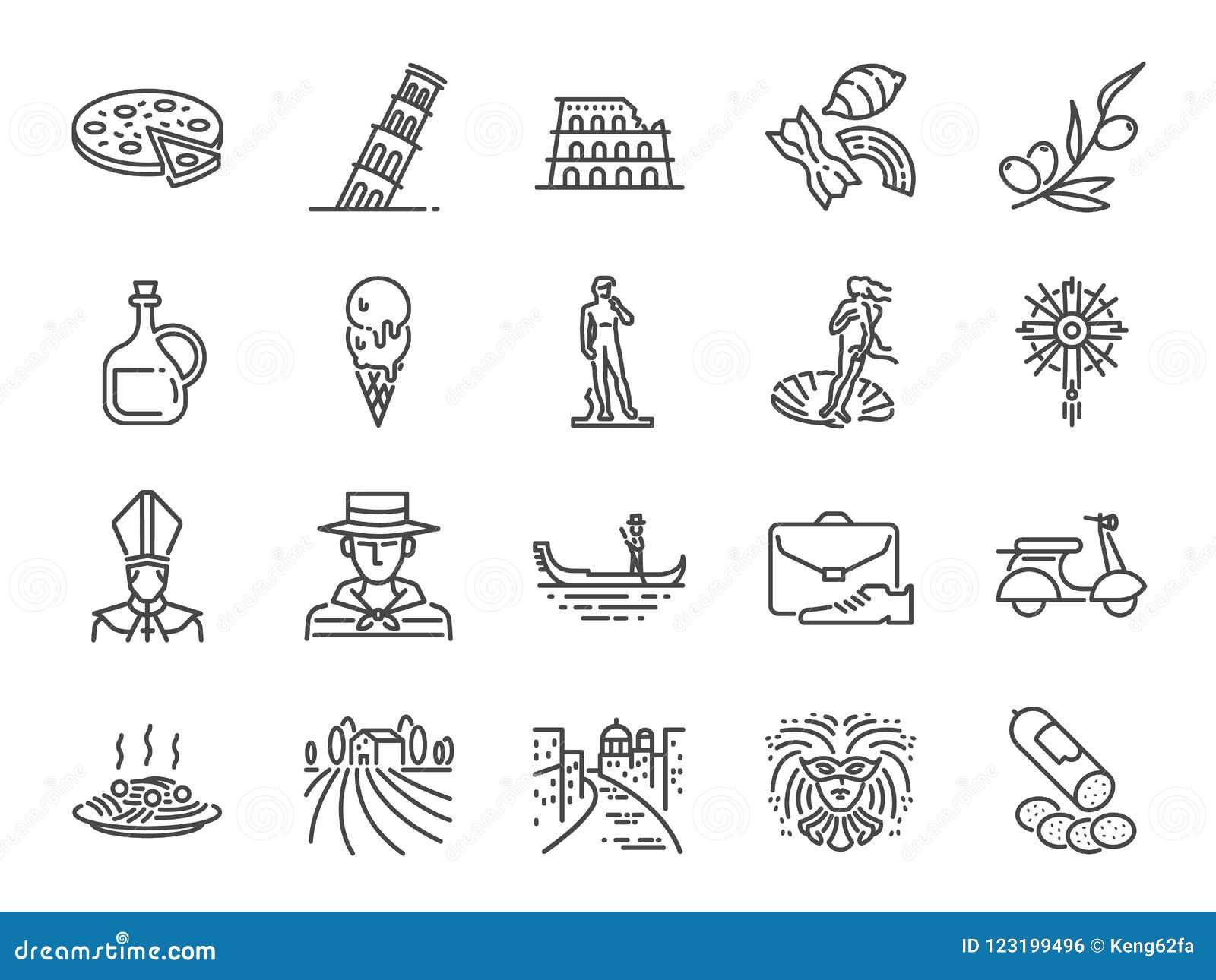 Sistema del icono de Italia Iconos incluidos como el aceite de Venecia, de la góndola, de la pizza, de oliva, el salami, la comid