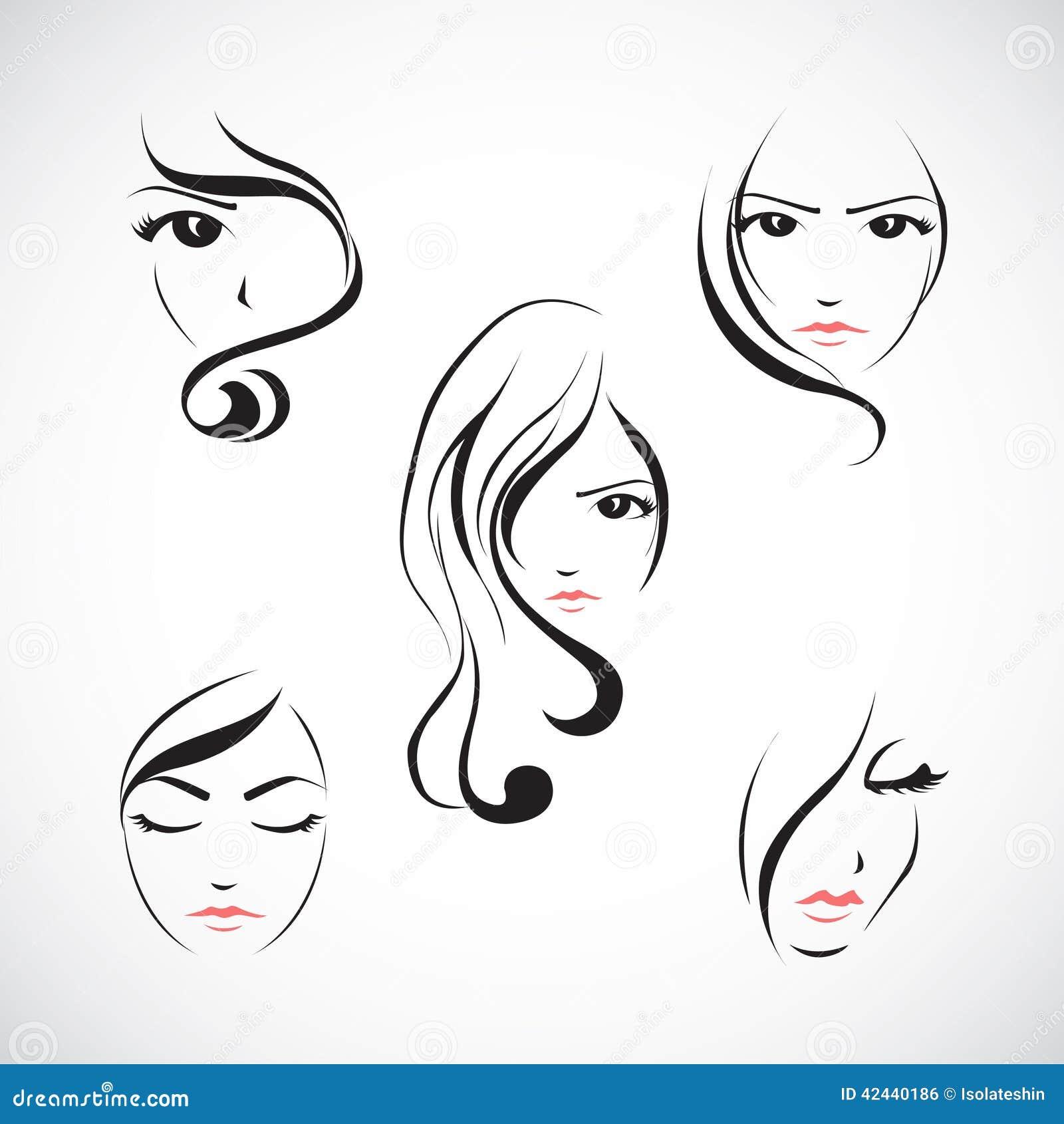 Sistema del icono de la cara de la mujer hermosa