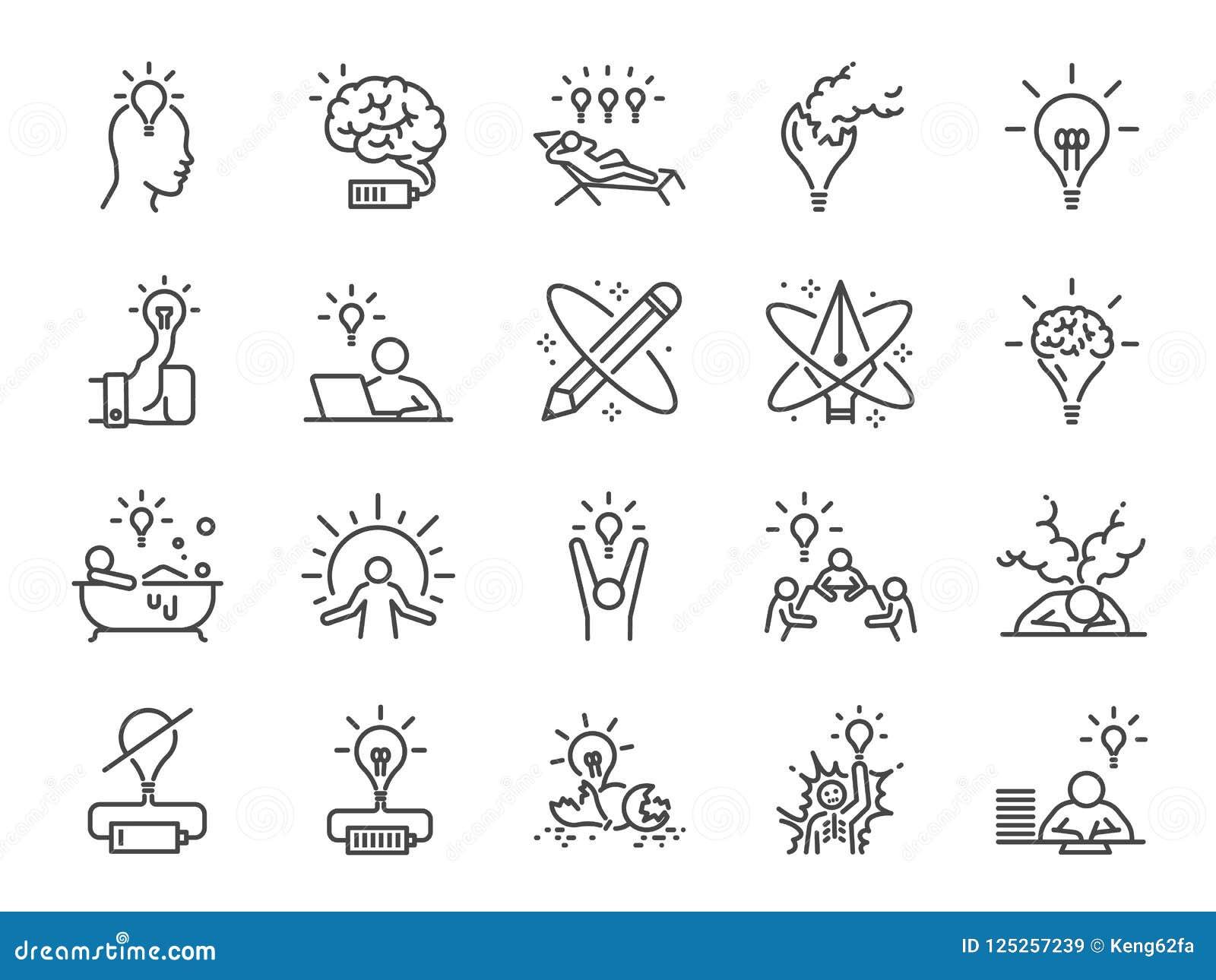 Sistema del icono de la creatividad Iconos incluidos como la inspiración, la idea, el cerebro, la innovación, la imaginación y má