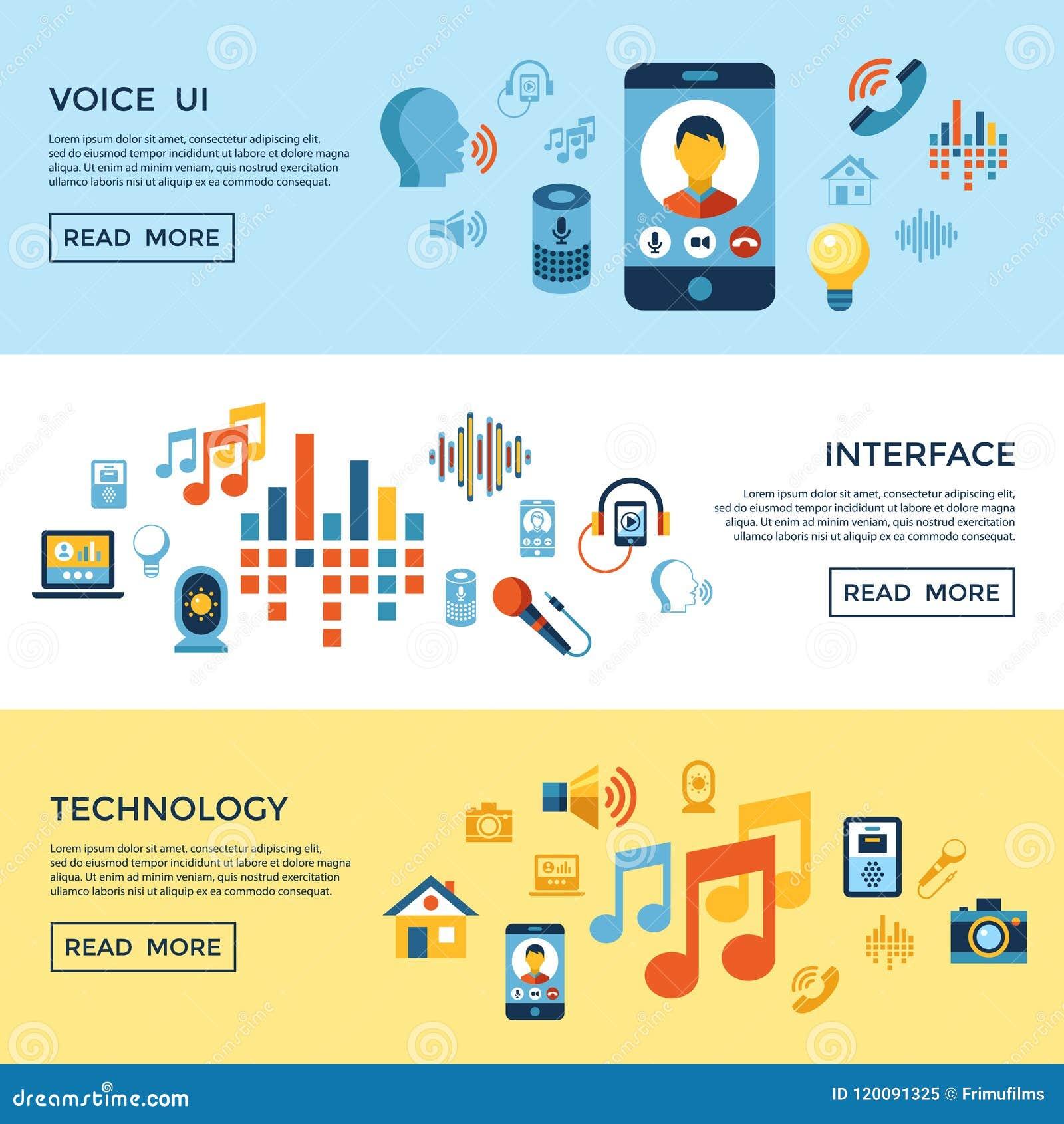 Sistema del icono de la interfaz de usuario de la voz