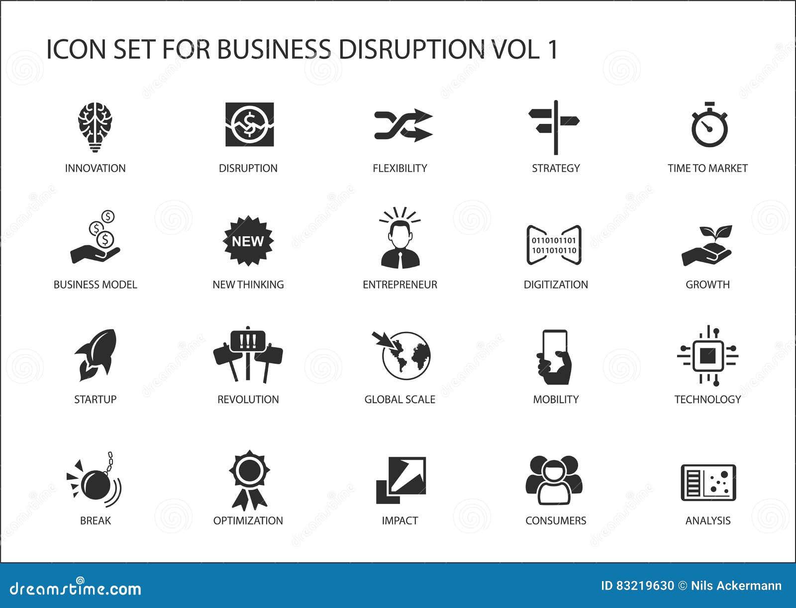 Sistema del icono de la interrupción del negocio de Digitaces