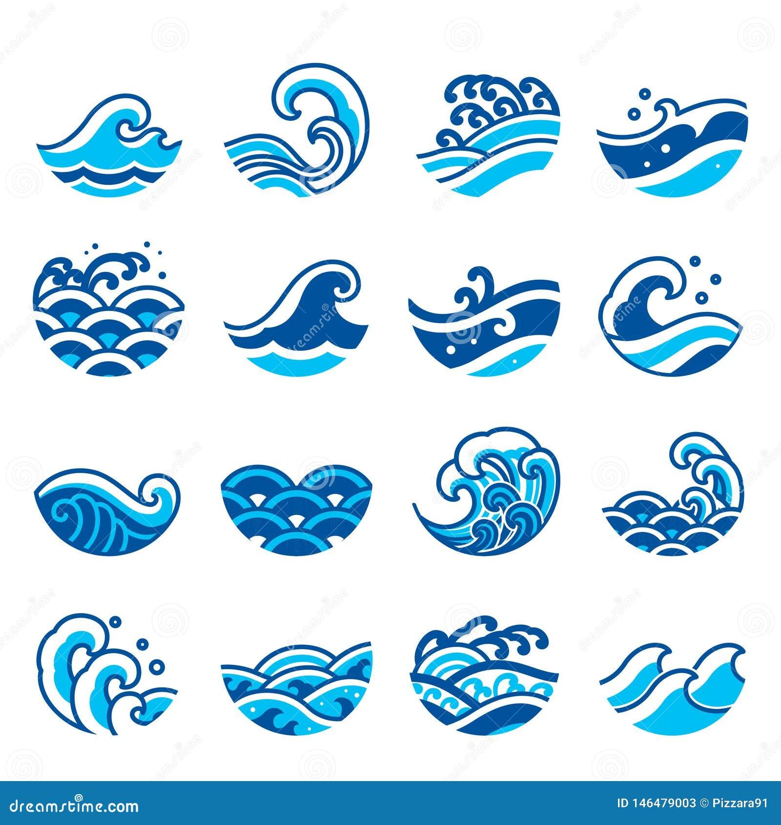 Sistema del icono de la onda de agua