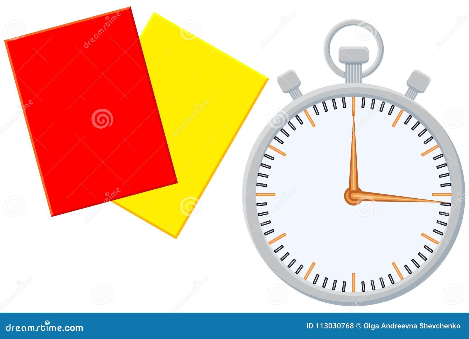 Sistema del icono de la tarjeta del árbitro del contador de tiempo del deporte de la historieta de Colorfull
