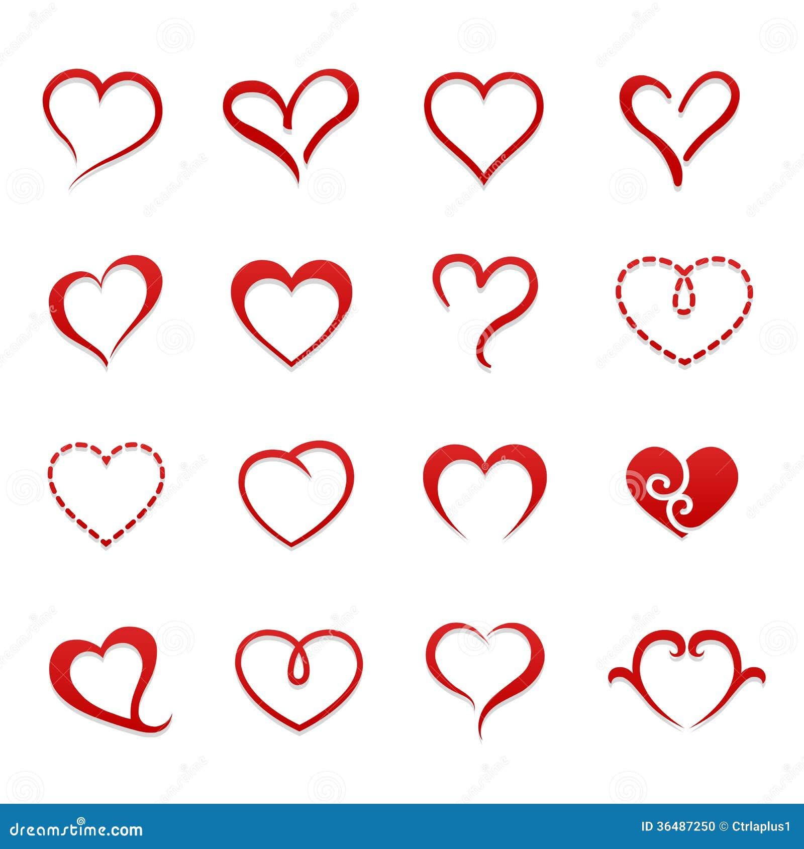 Sistema del icono de la tarjeta del día de San Valentín del corazón