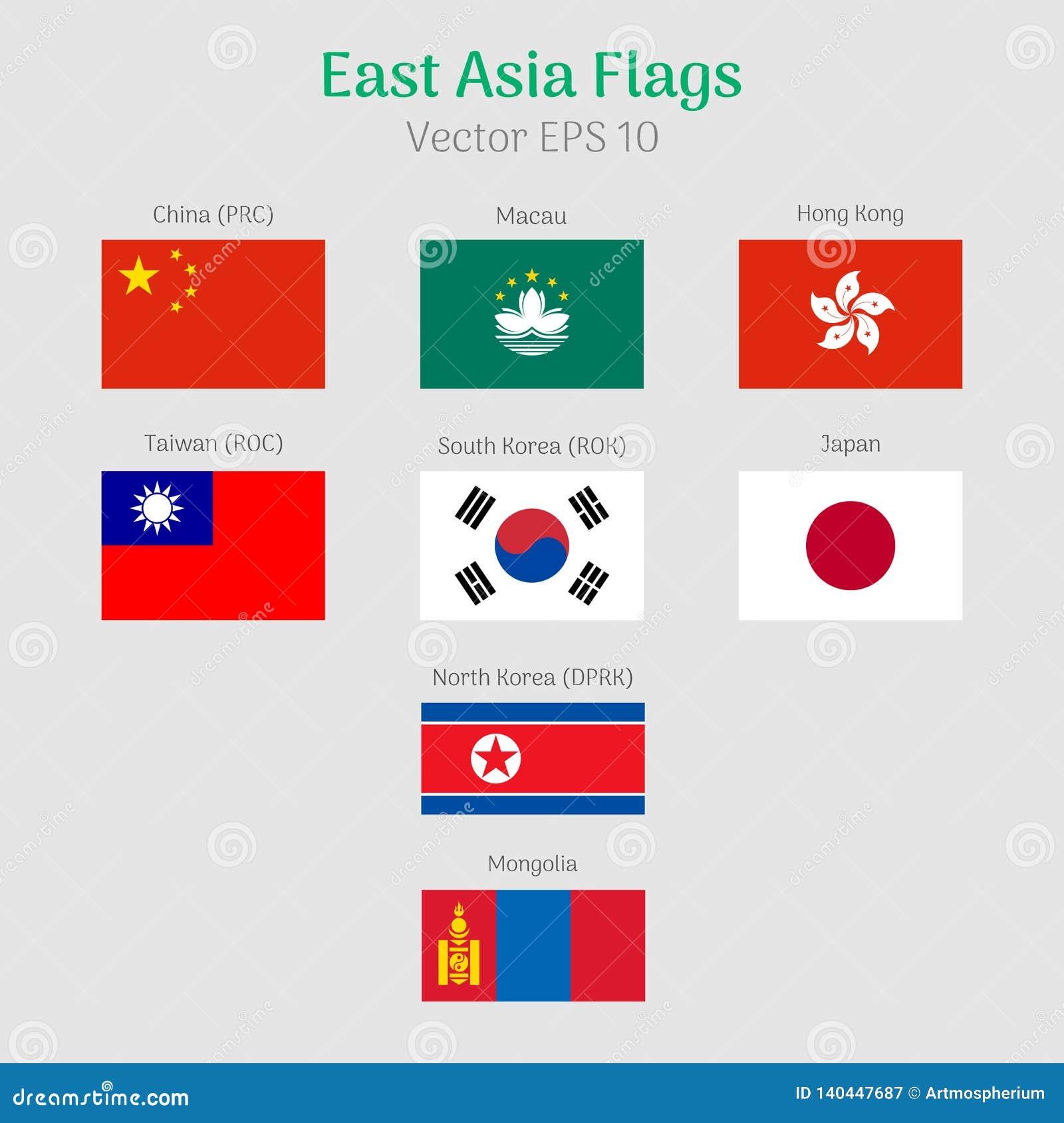 Sistema del icono de las banderas del Este de Asia