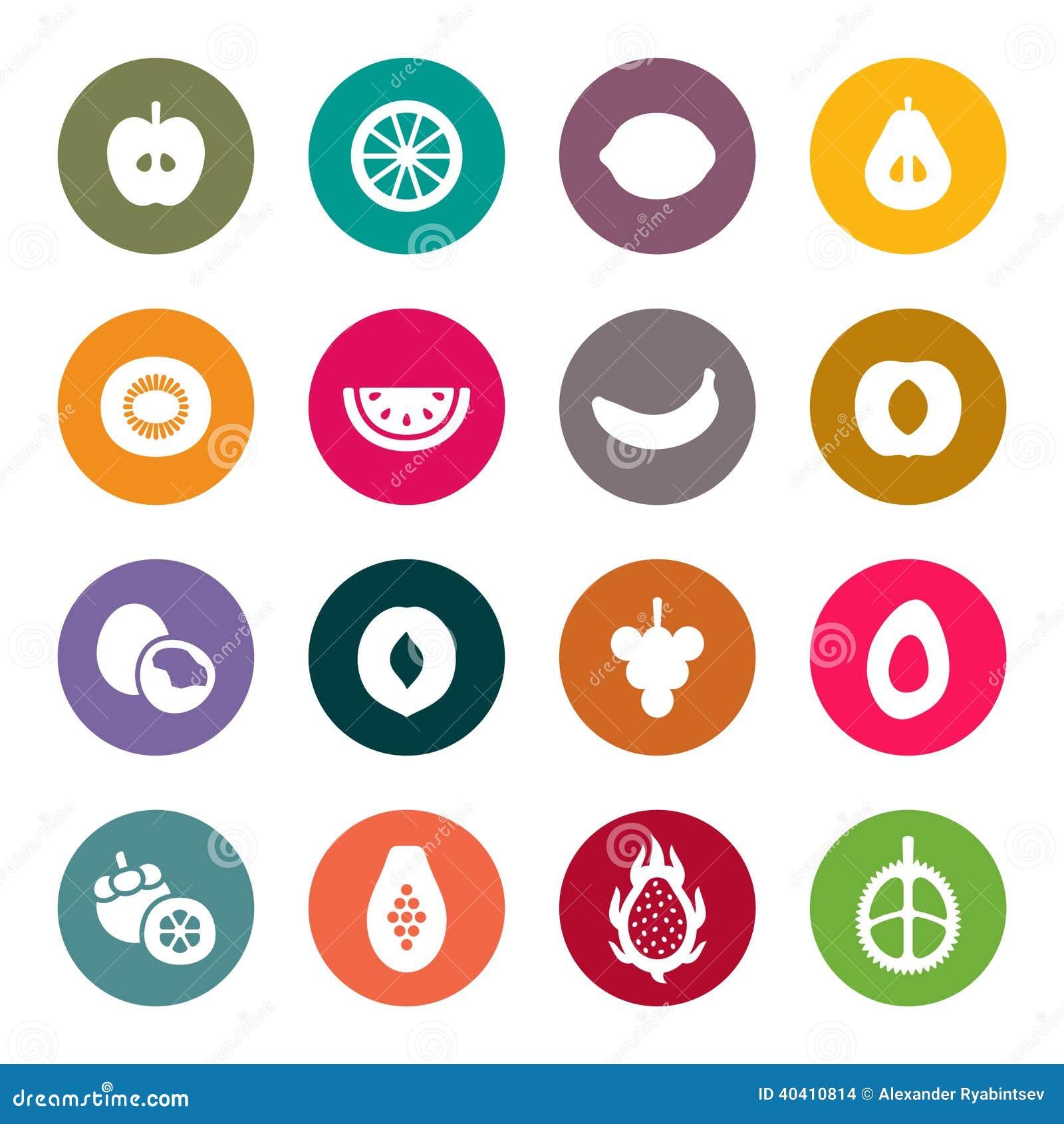 Sistema del icono de las frutas Ilustración del vector