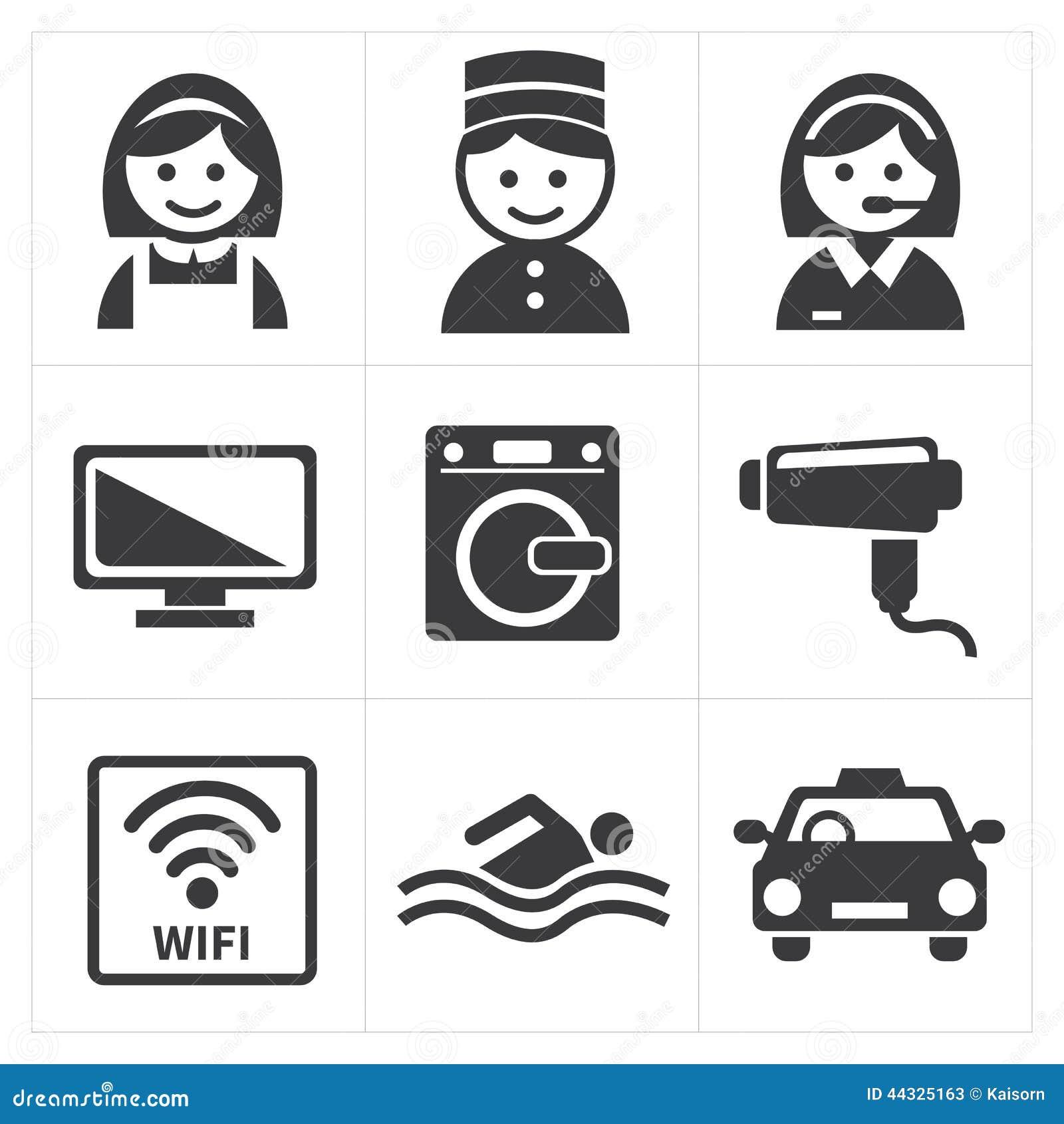 Sistema del icono de los servicios de hotel ilustraci n for Tipos de servicios de un hotel