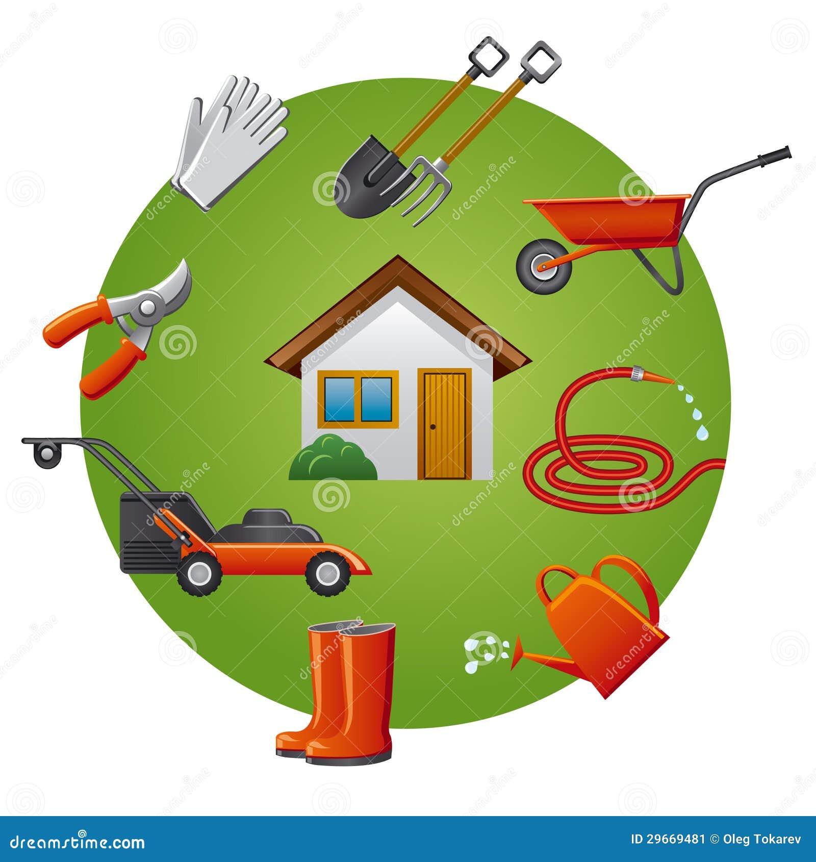 Sistema del icono de los utensilios de jardiner a for Objetos de jardineria