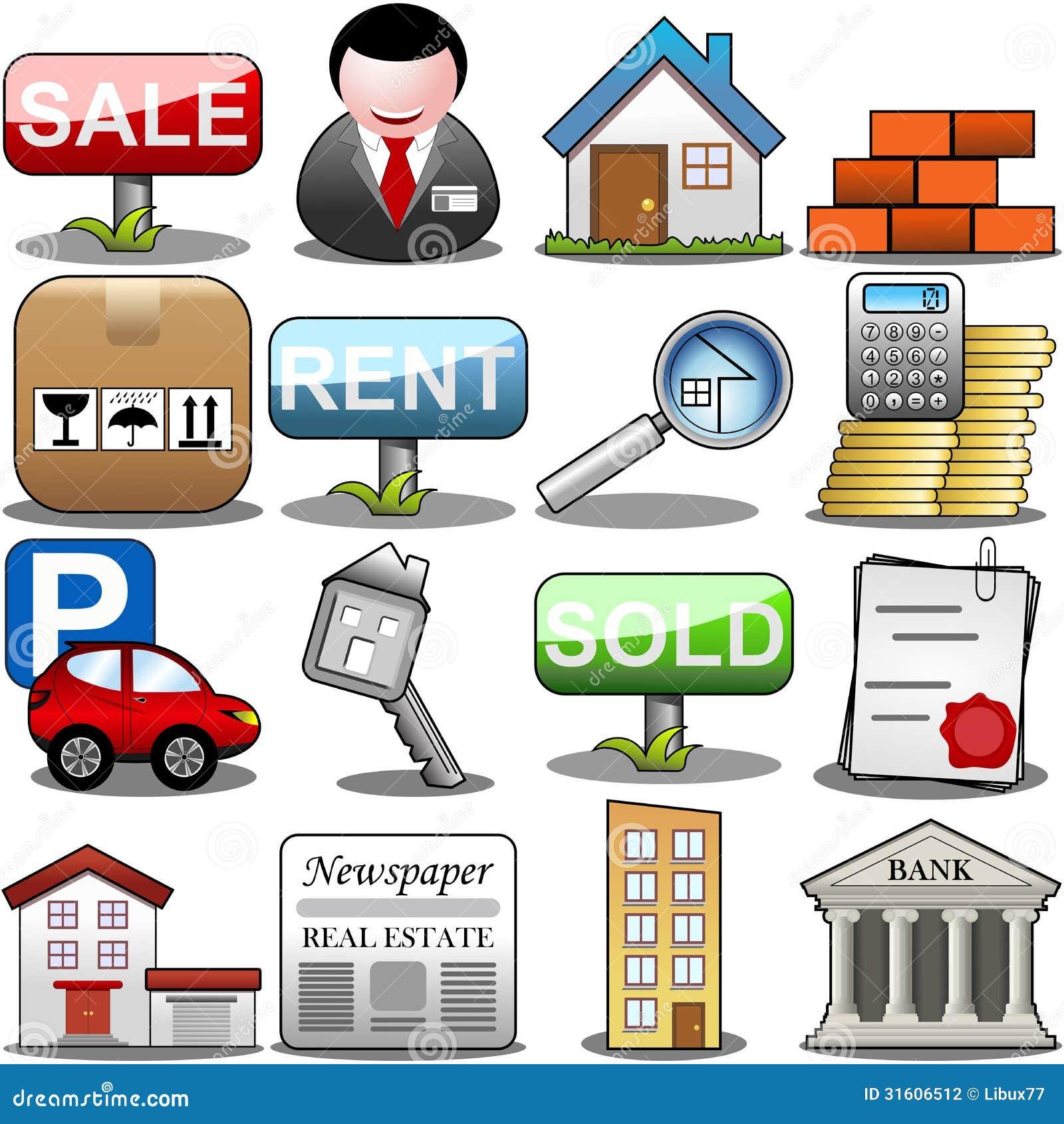 Sistema del icono de Real Estate