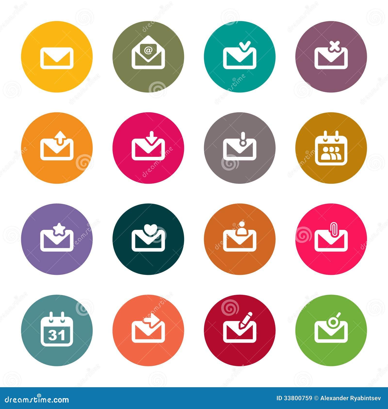 Sistema del icono del correo electrónico. color