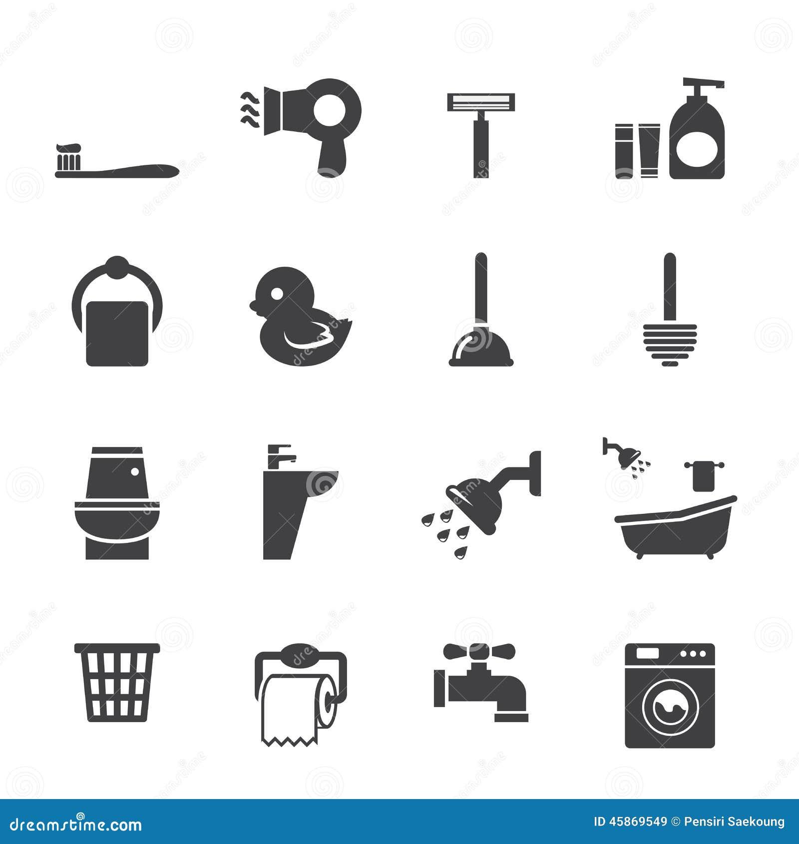 Sistema del icono del cuarto de baño